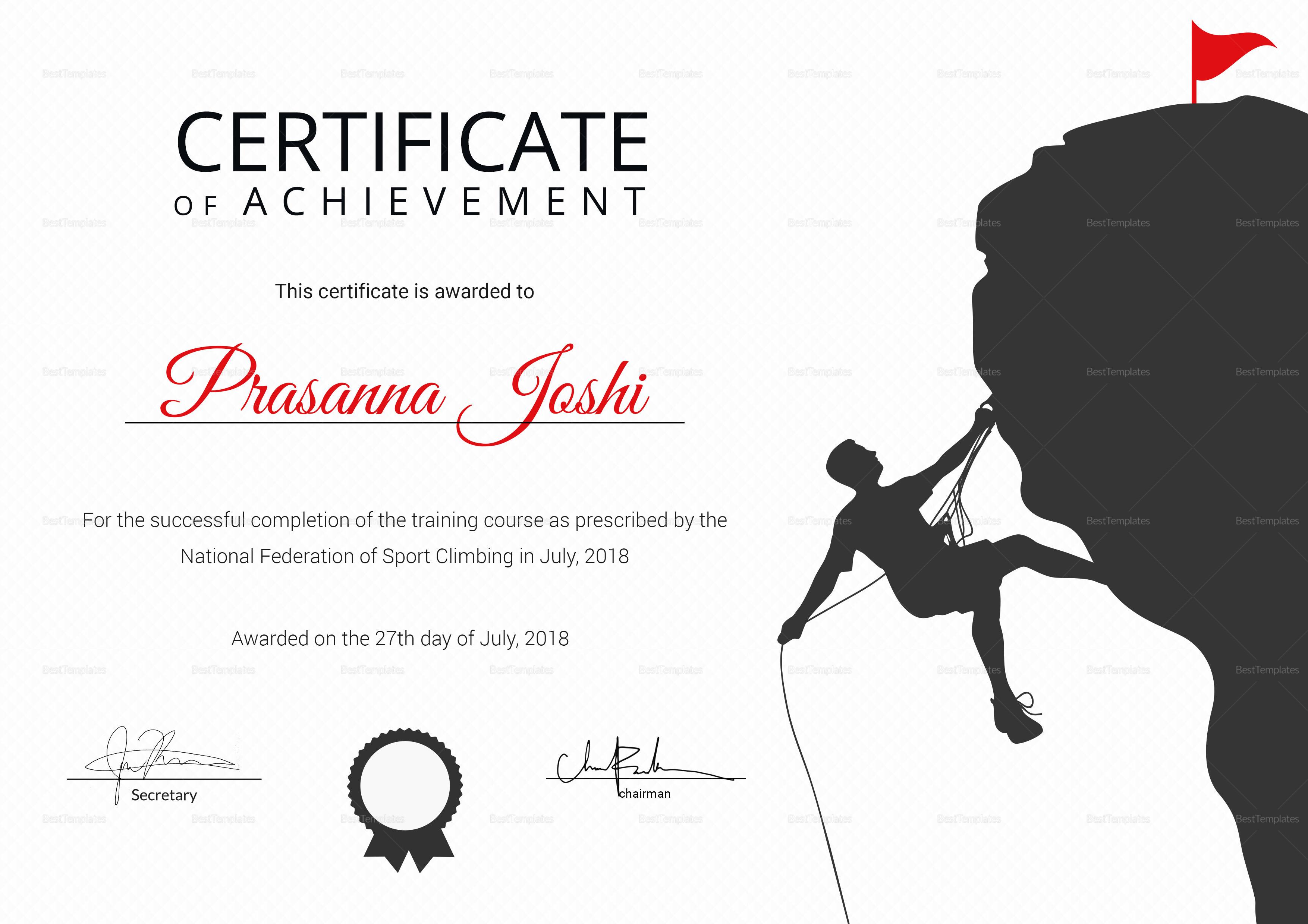 Sample Rock Climbing Achievement Certificate Template