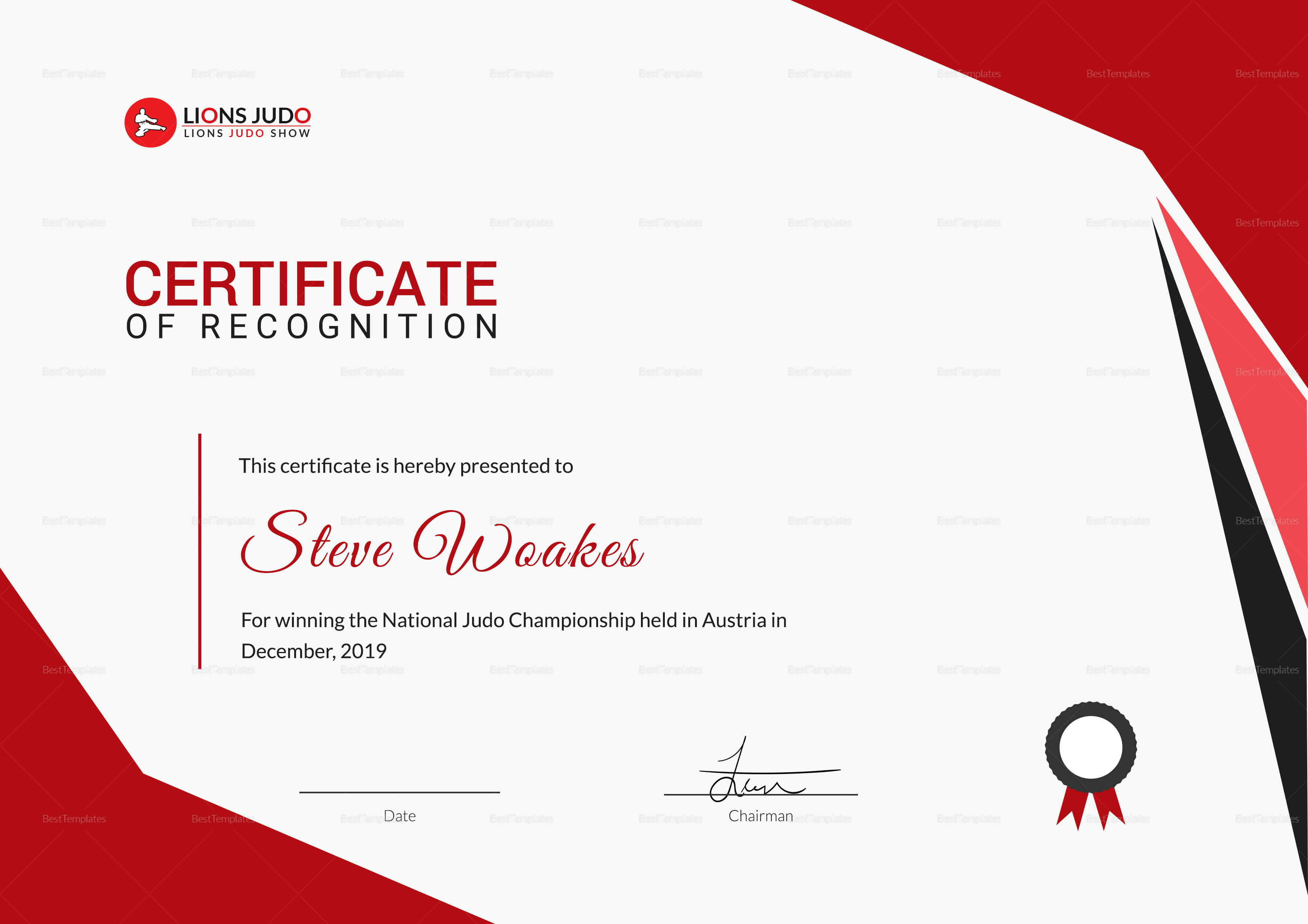 judo recognition certificate design template in psd word