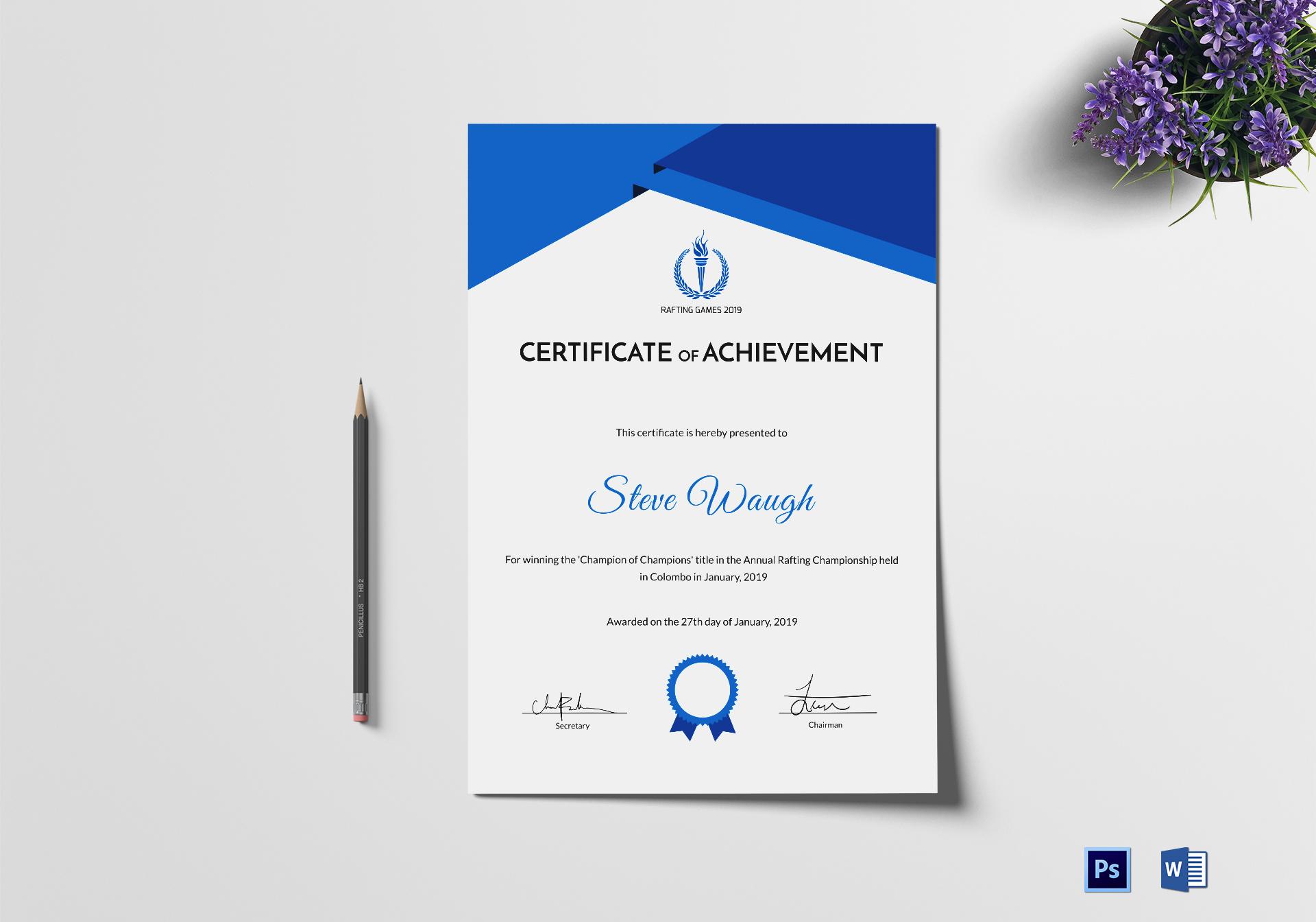 Certificate of Rafting Achievement