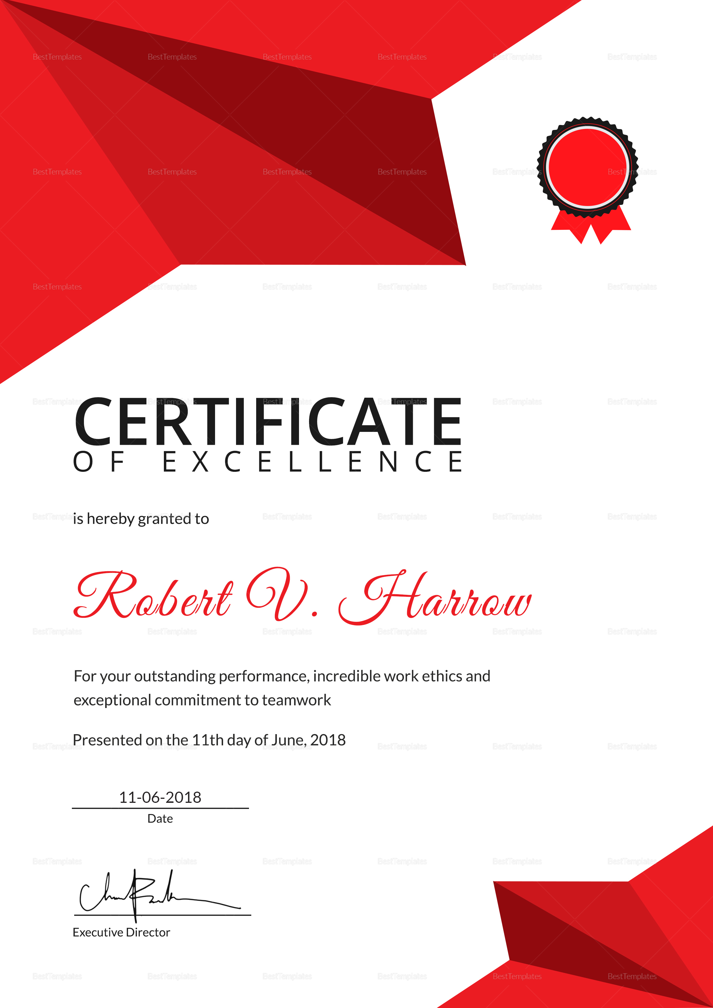 Sample Certificate of Coach Excellence Template