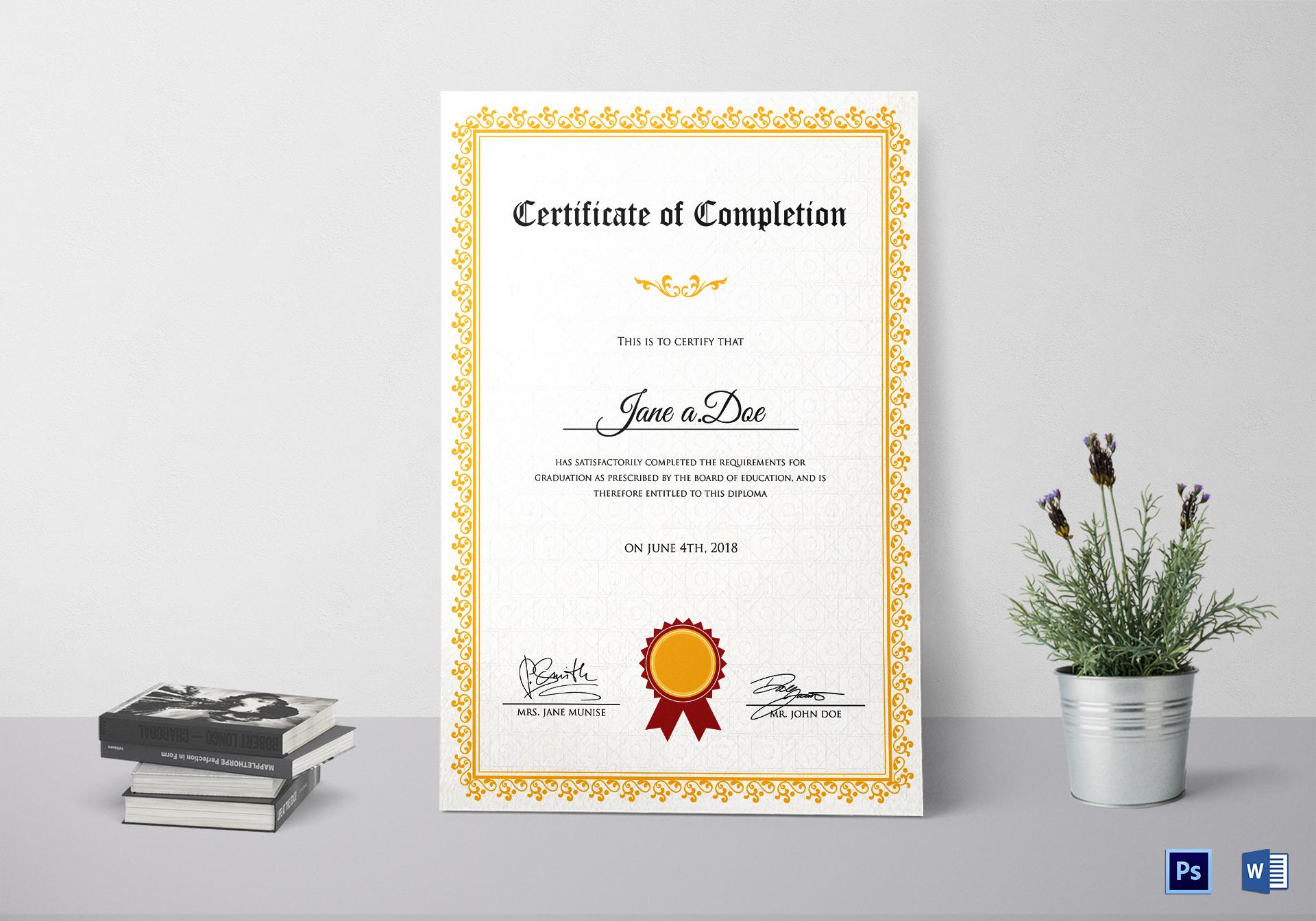 Graduation Completion Certificate