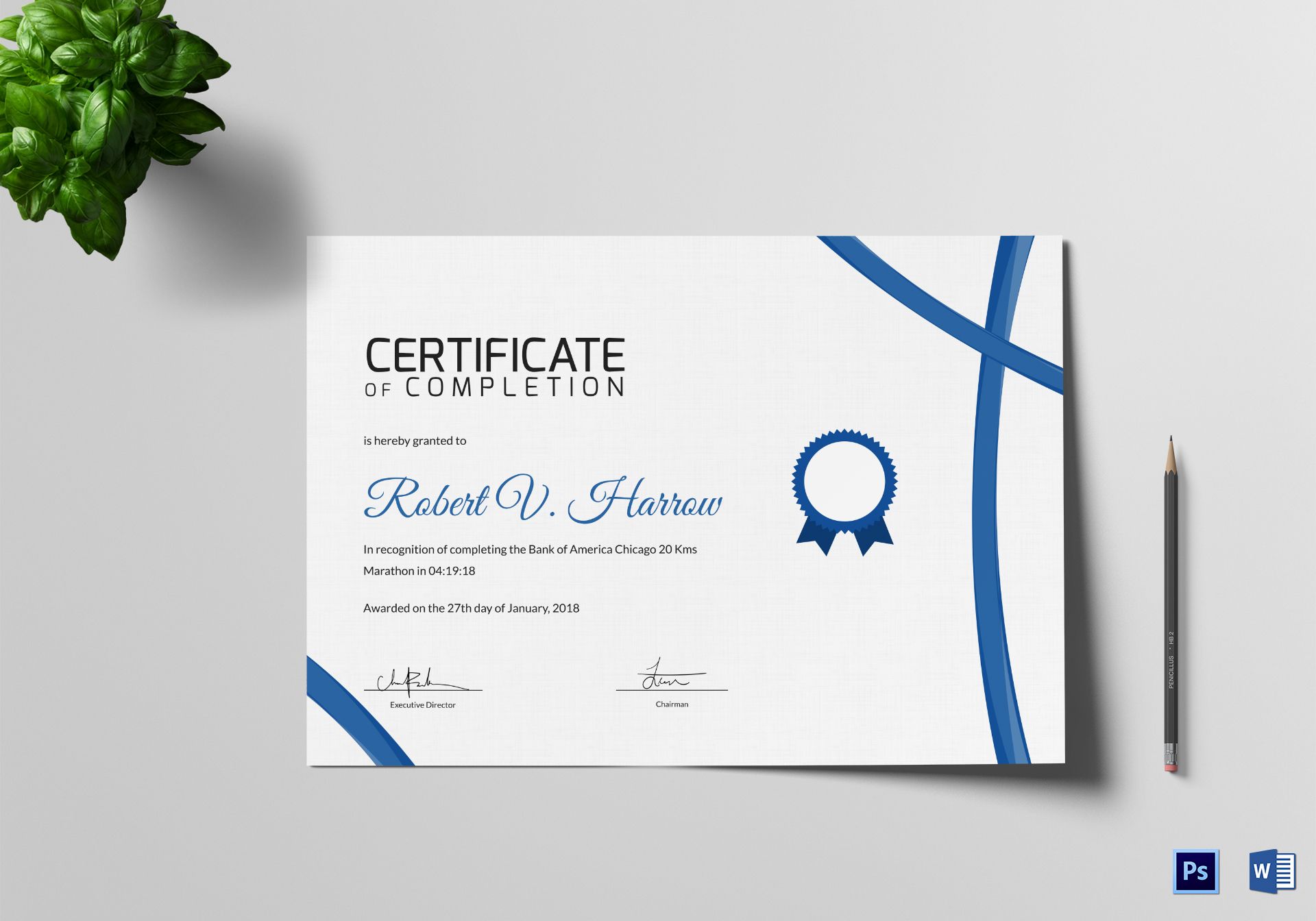 Marathon Completion Certificate Design Template In Psd Word