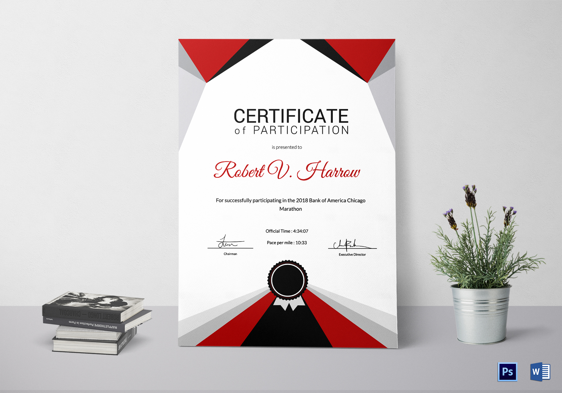 Marathon Excellence Certificate Template