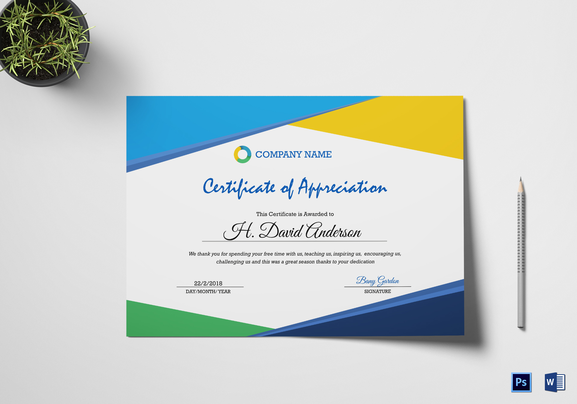 Company appreciation certificate design template in psd word company appreciation certificate template yadclub Image collections