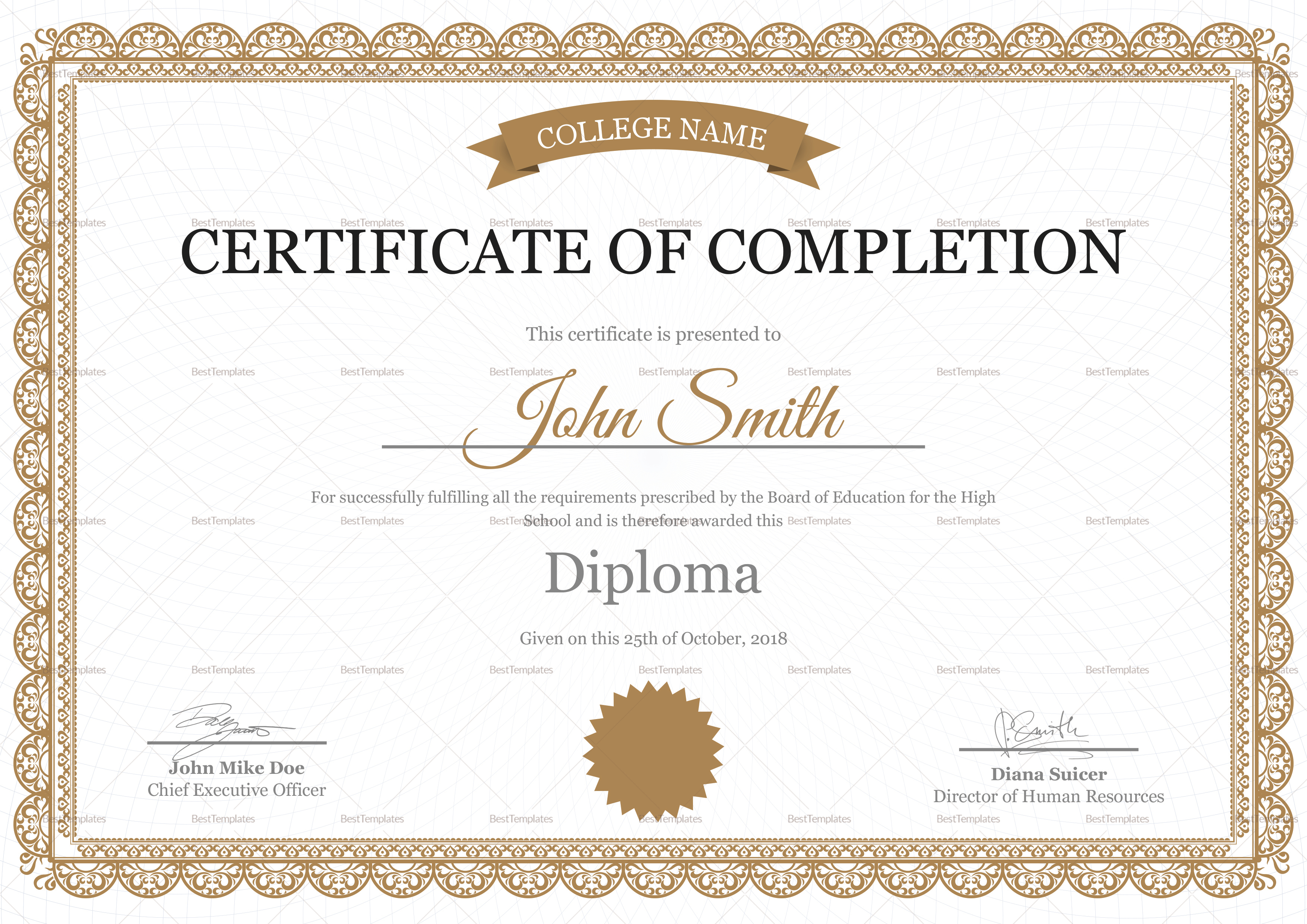 High School Completion Certificate Design Template In Psd Word