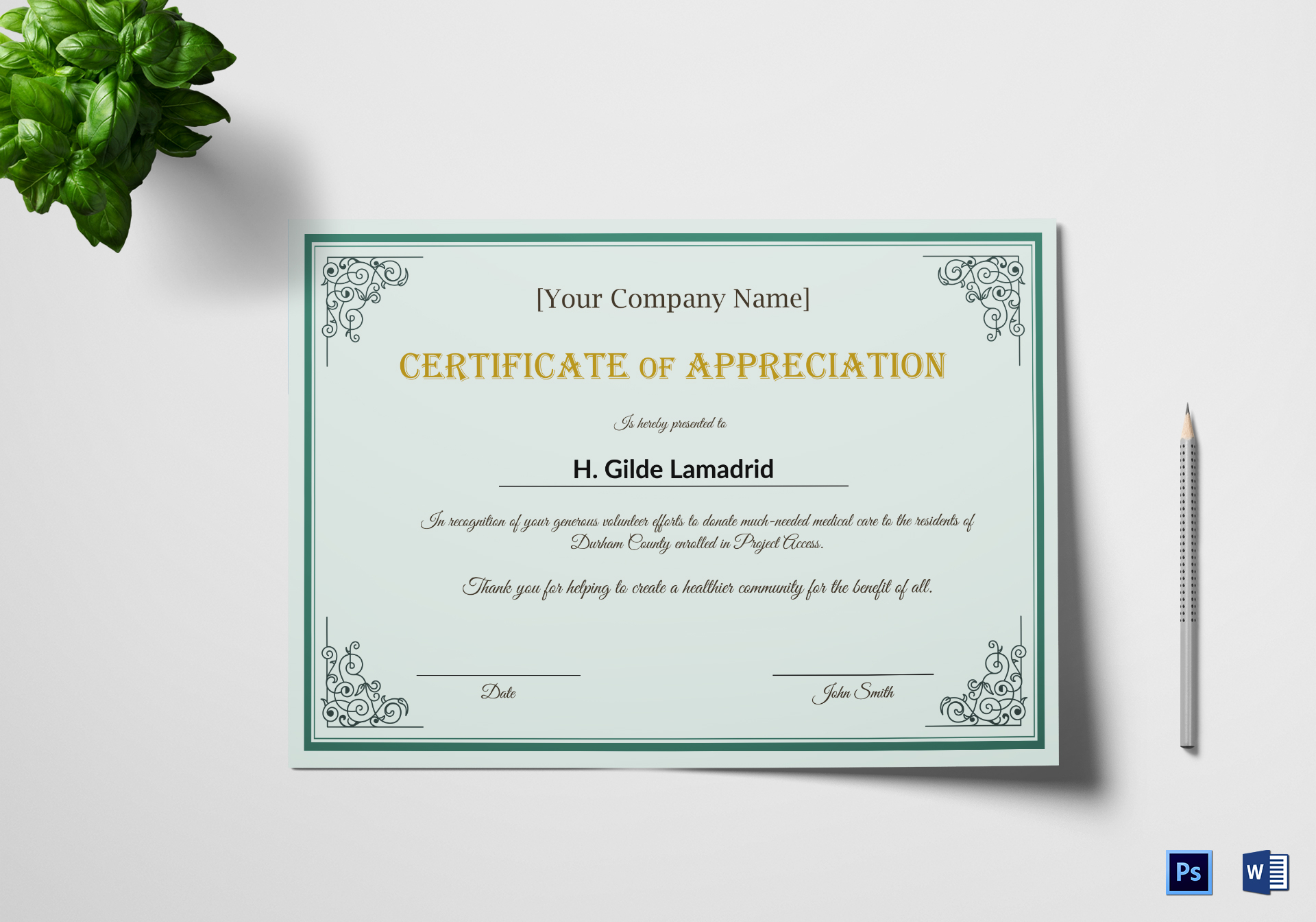 Company Employee Appreciation Certificate Design Template In Psd Word