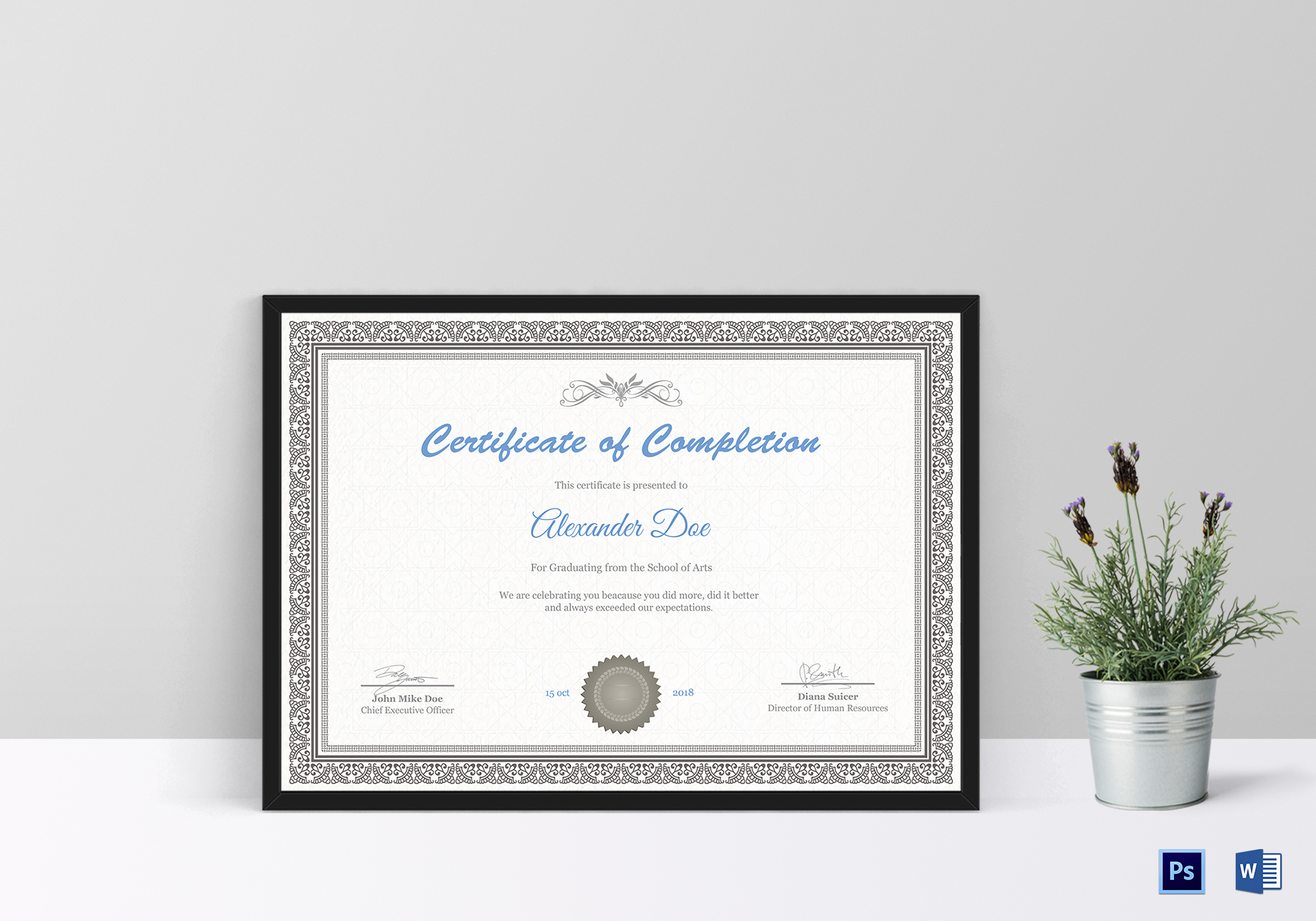 Graduation Certificate Design Template in PSD, Word