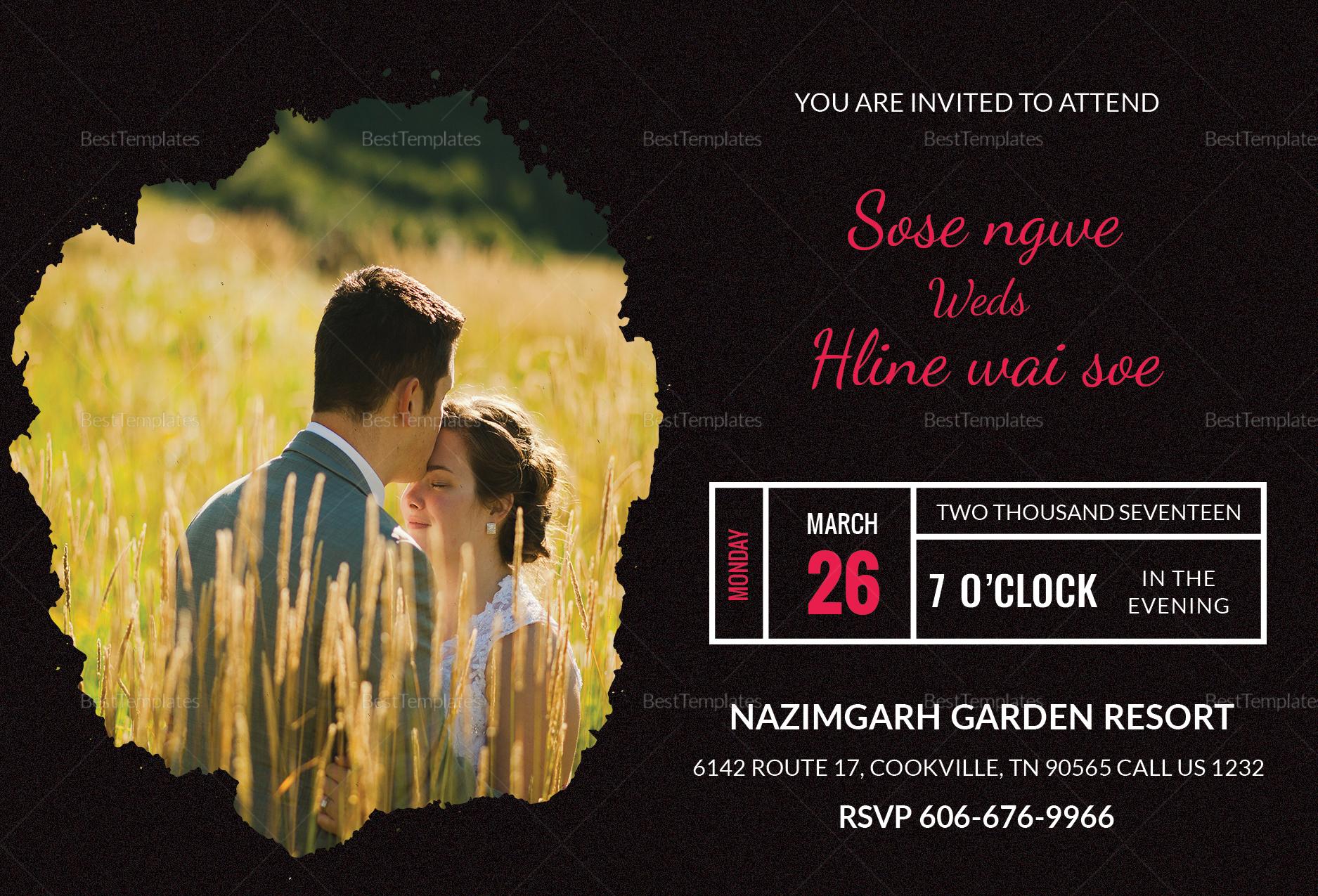 Black Engagement Invitation Card Design