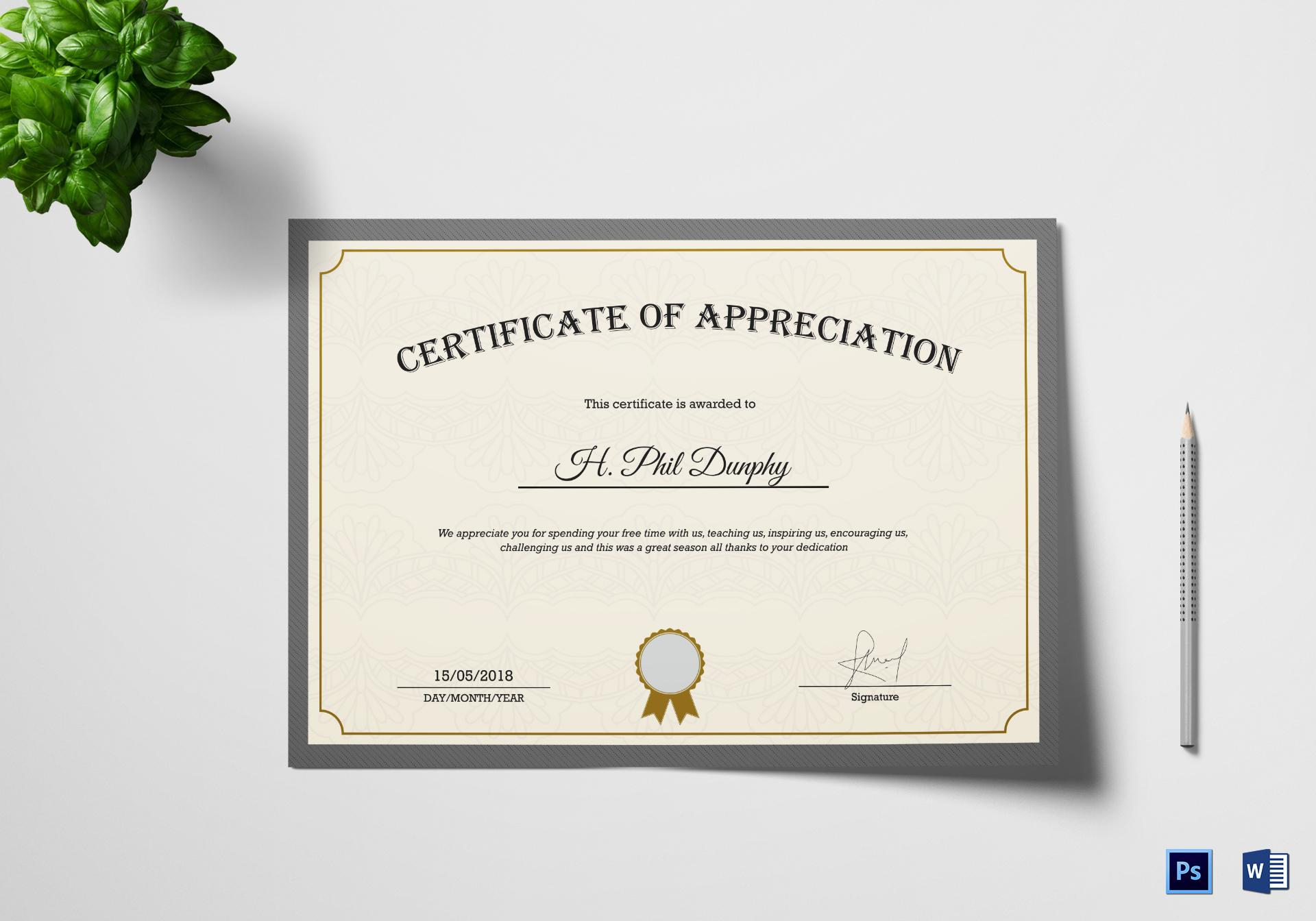 Company Appreciation Certificate Template