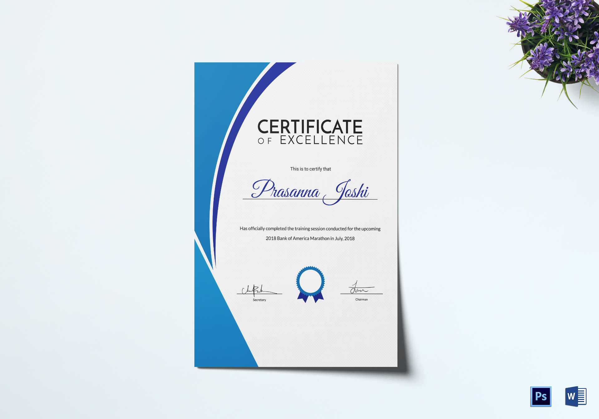Marathon Training Certificate Design Template in PSD, Word