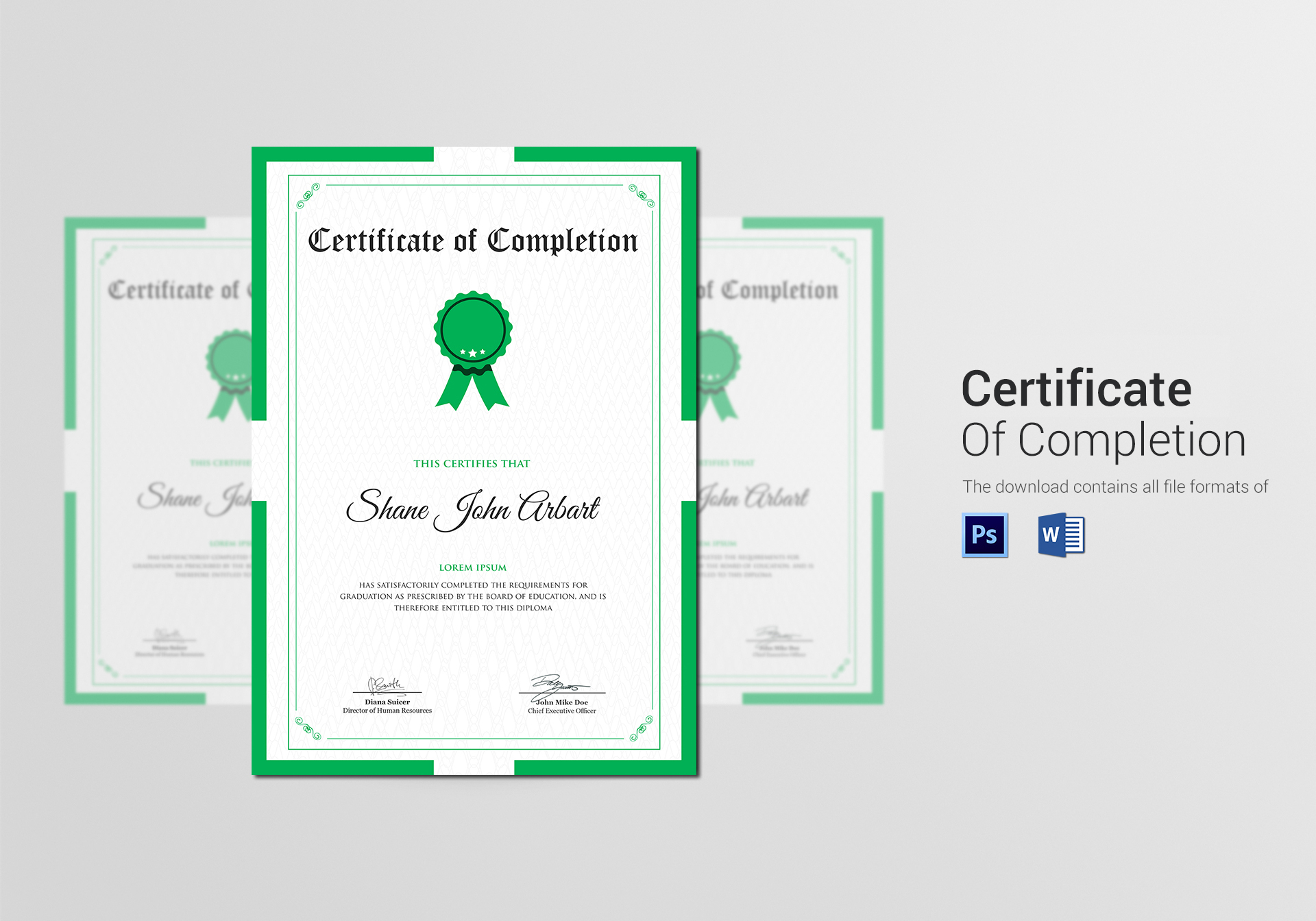 Sample Graduation Completion Certificate