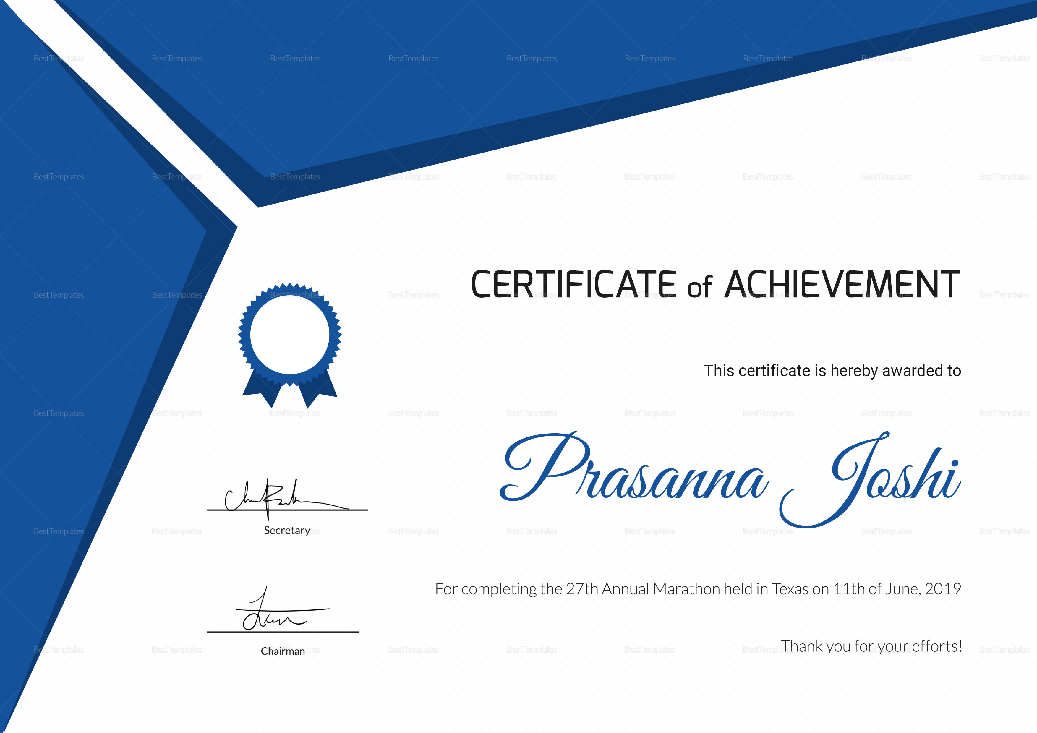 Certificate of Marathon Achievement Design Template