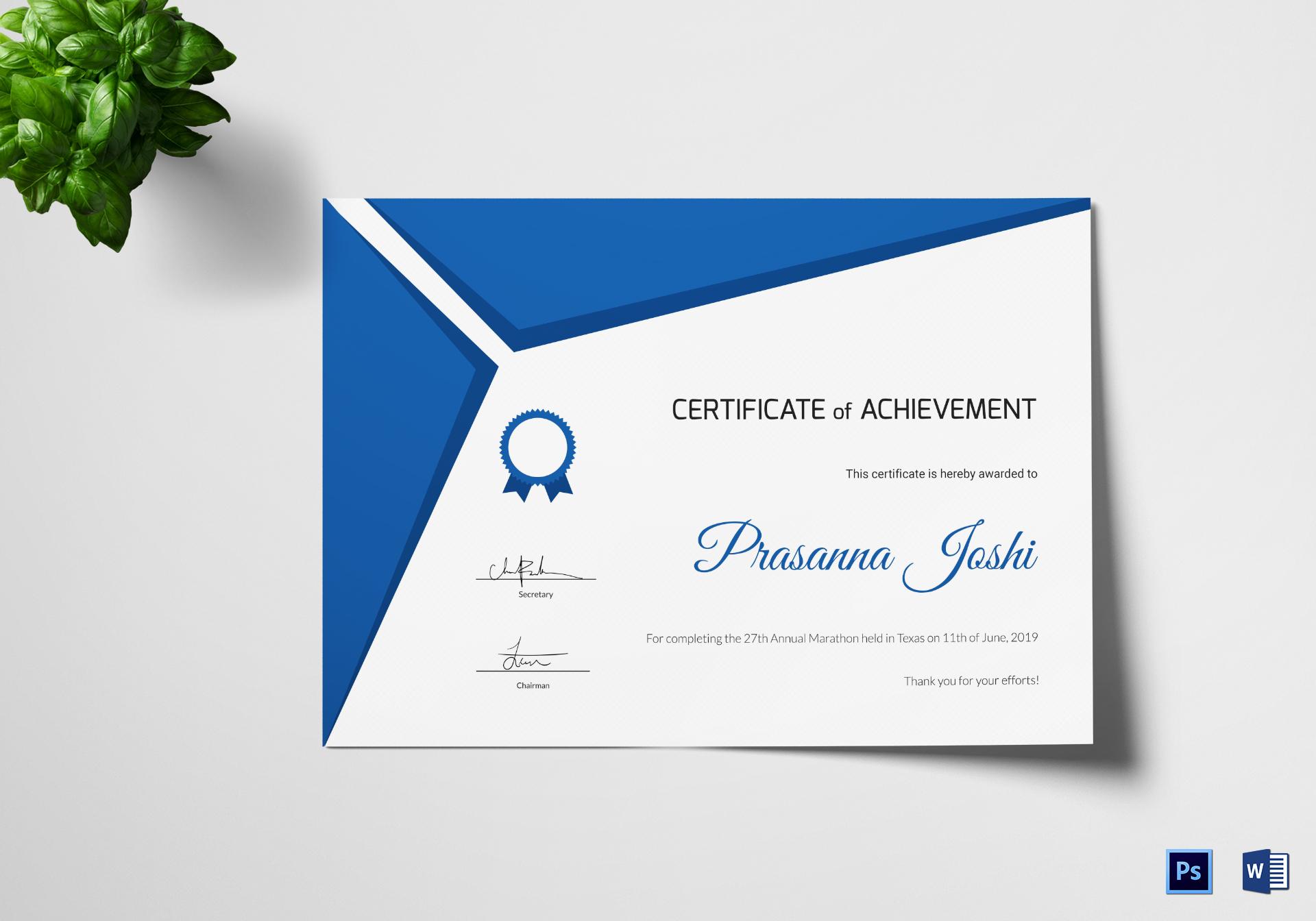 Certificate of Marathon Achievement Template