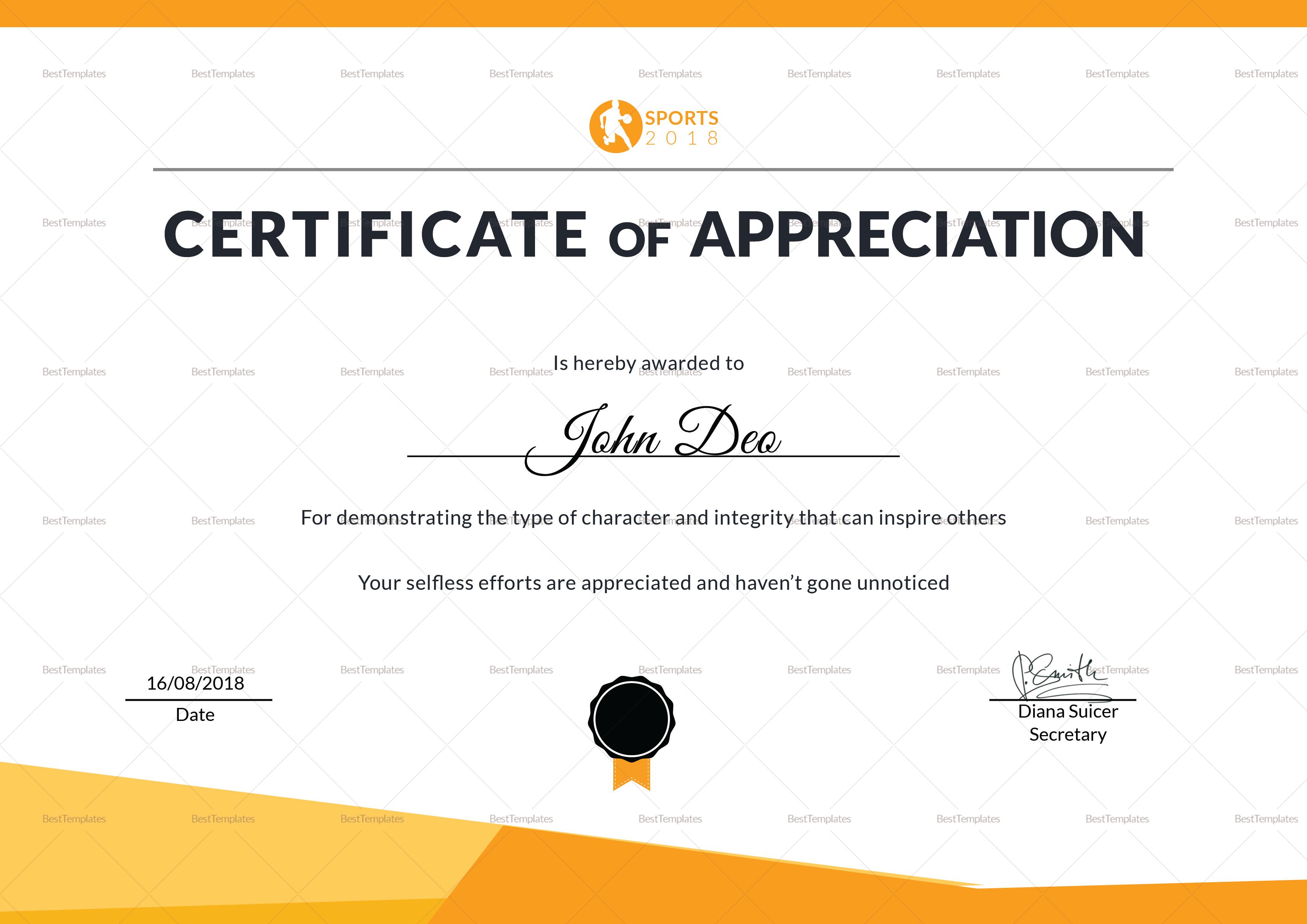 Sportsmanship Appreciation Certificate Template