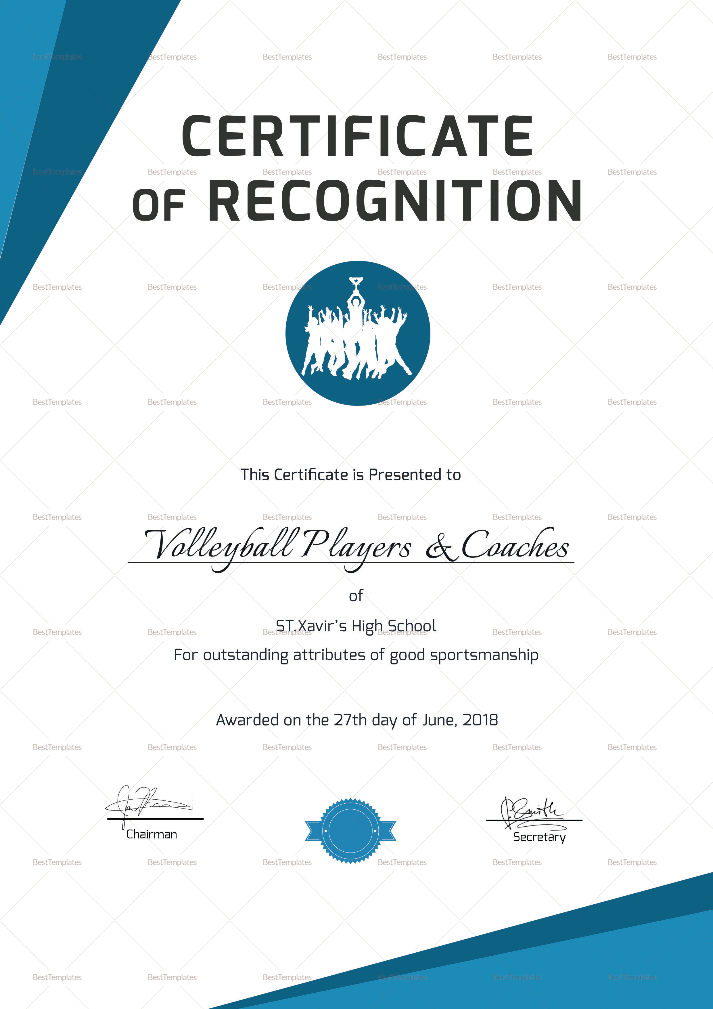 Sample Sportsmanship Recognition Certificate Template