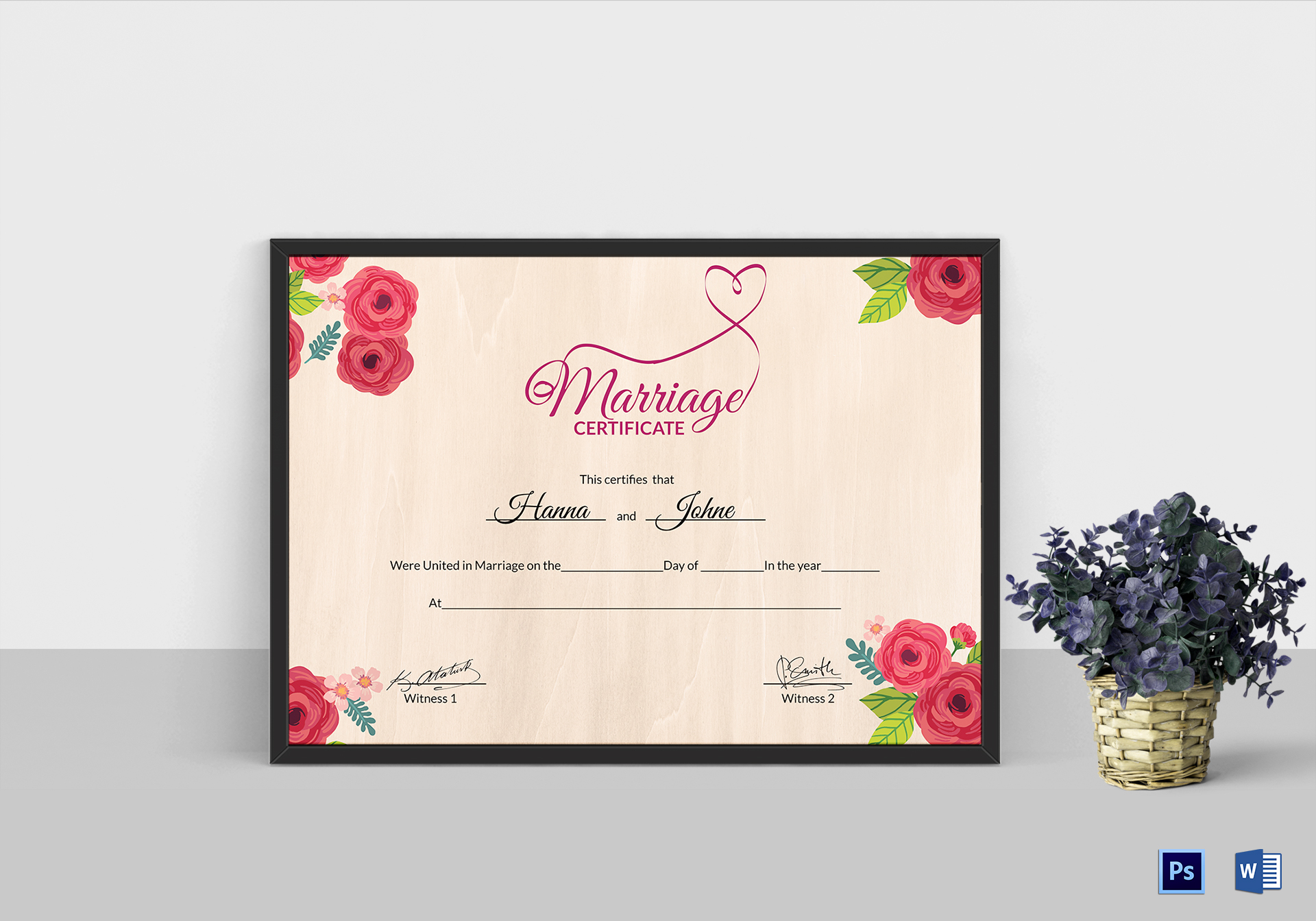 Floral Marriage Certificate Template
