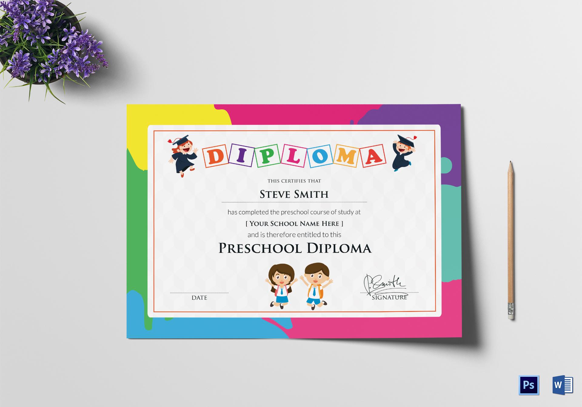 preschool diploma template word
