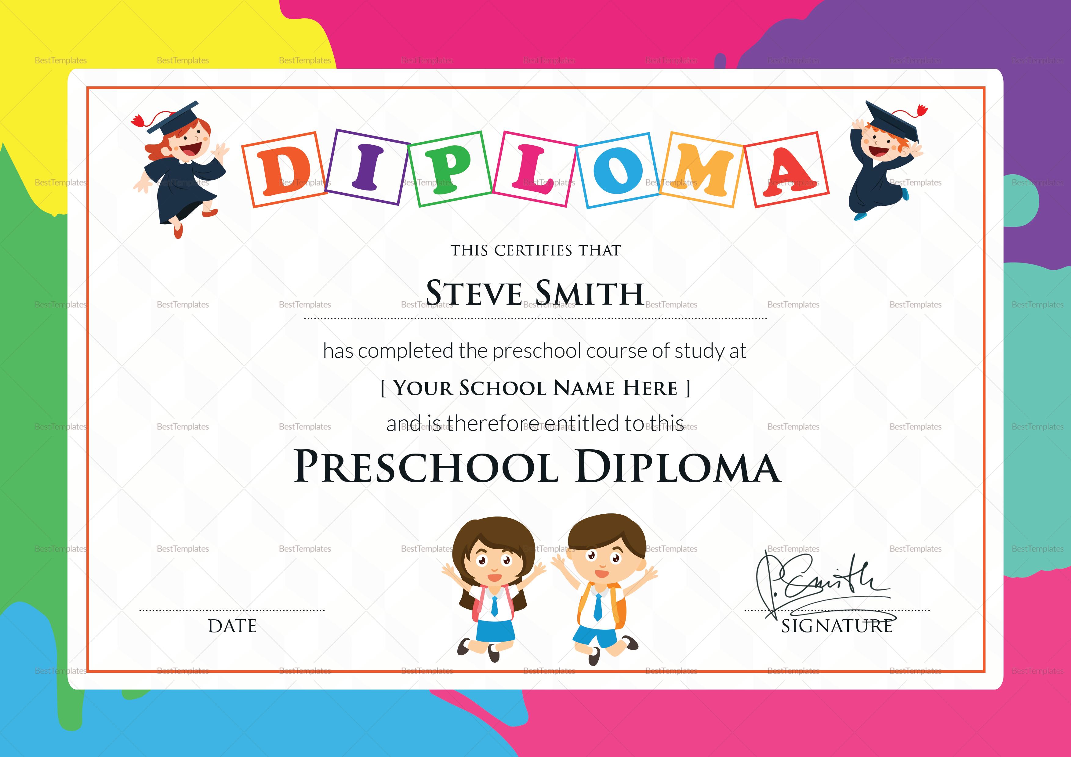 Preschool Diploma Certificate; Preschool Diploma Certificate Template
