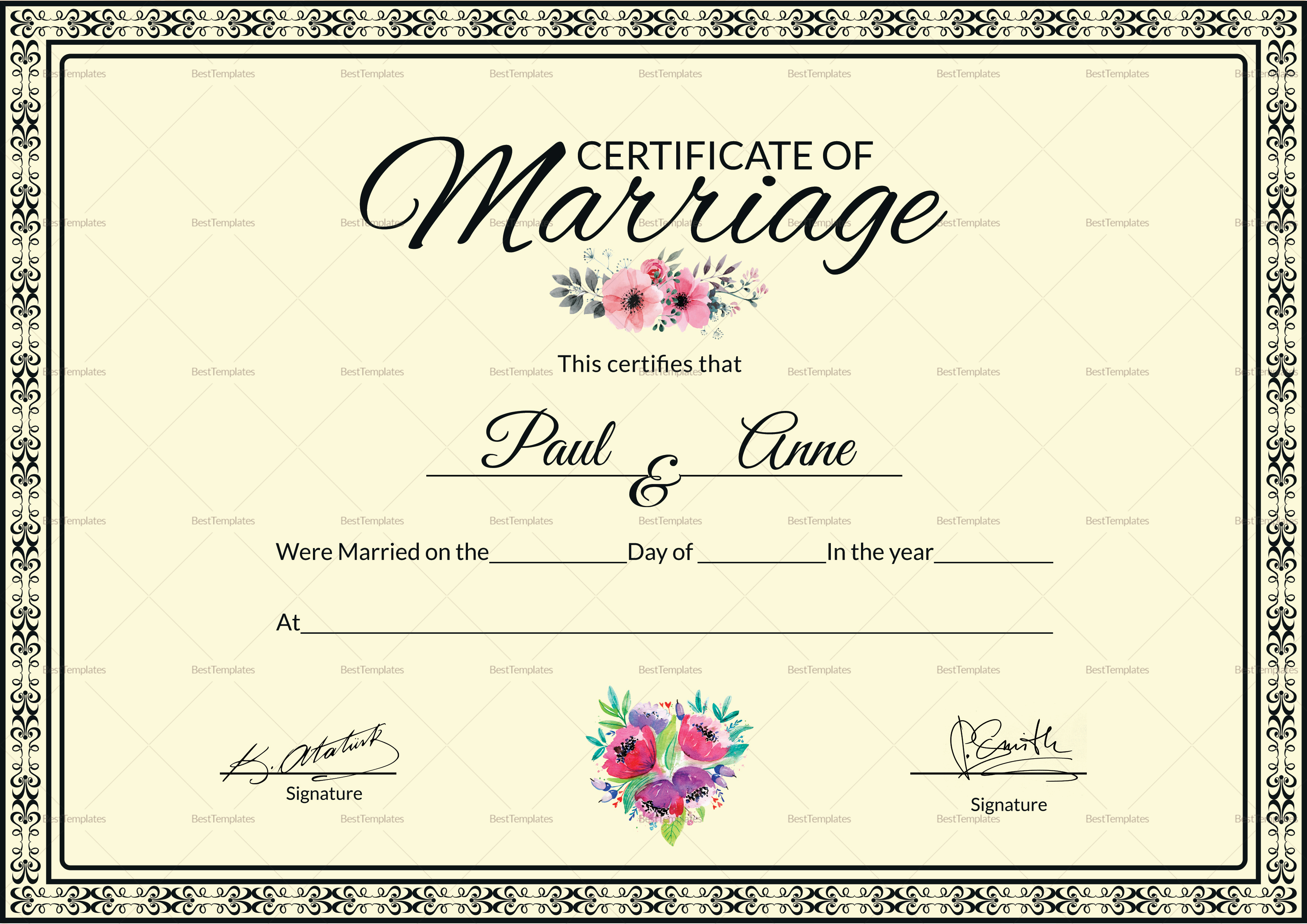 marriage certificate design template in psd word