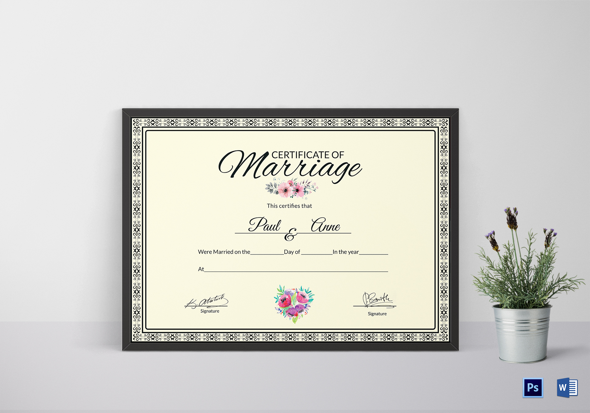Marriage Certificate DesignTemplate