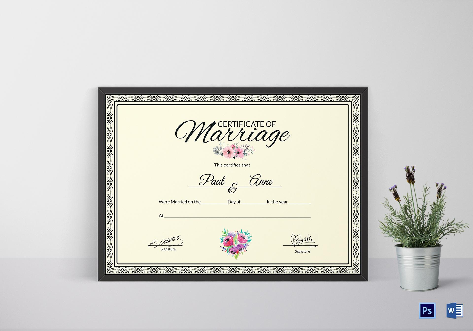 Marriage Certificate DesignTemplate