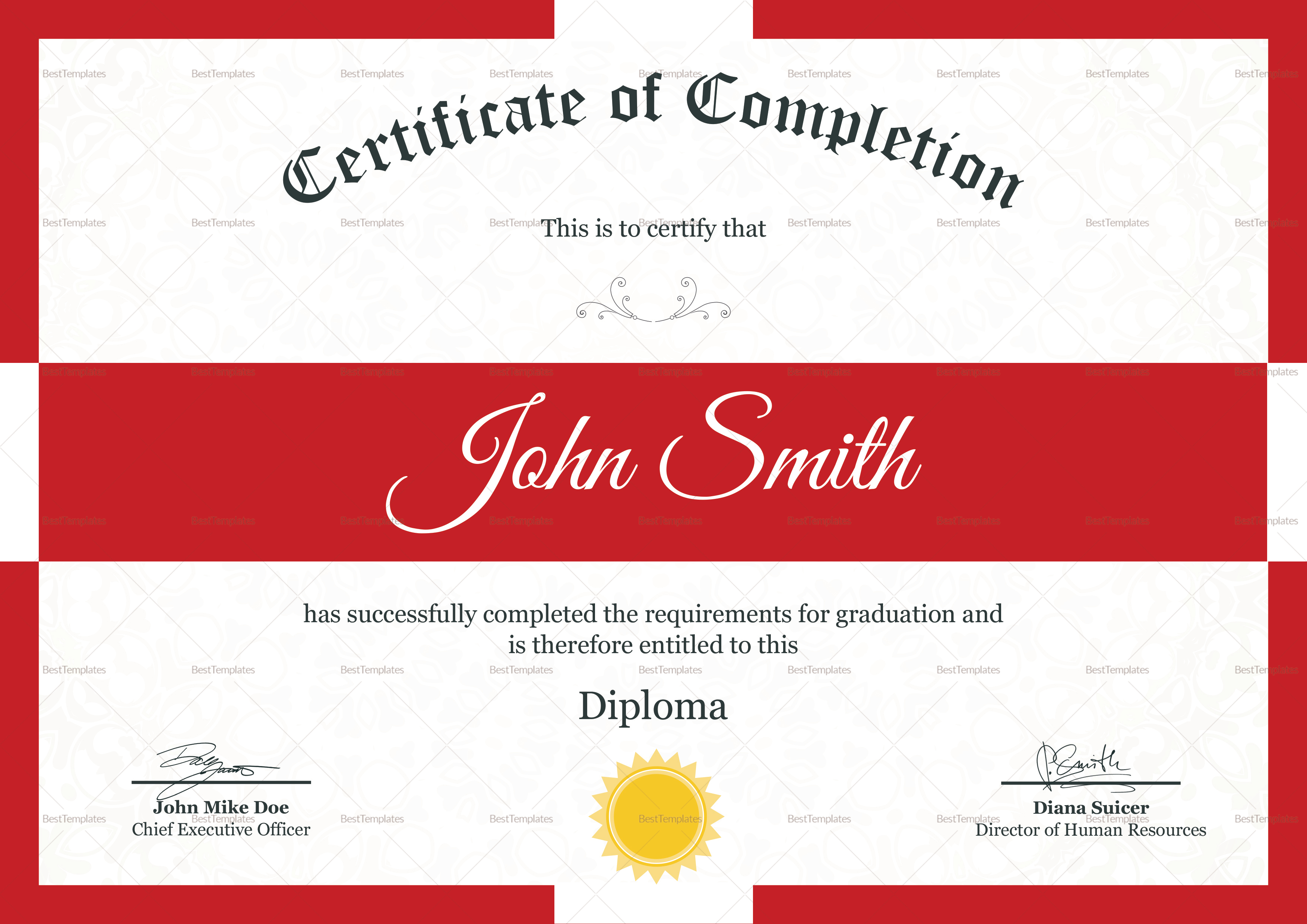 Diploma Completion Certificate Template