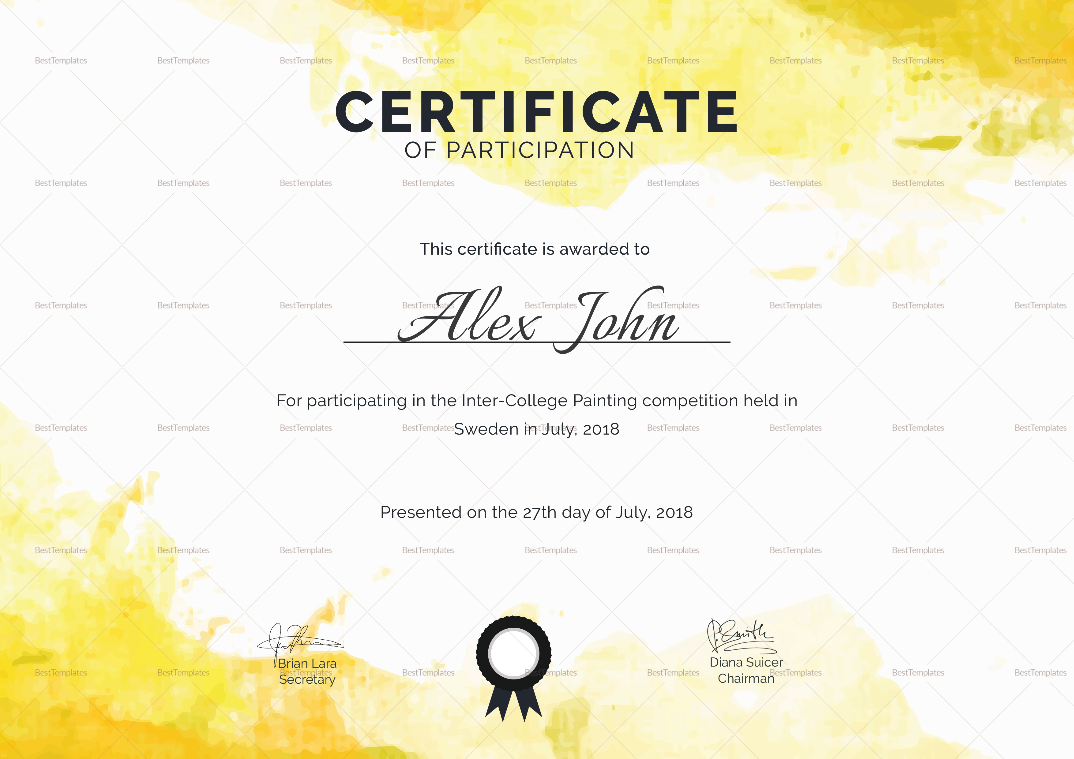 Painting Participation Certificate Design Template