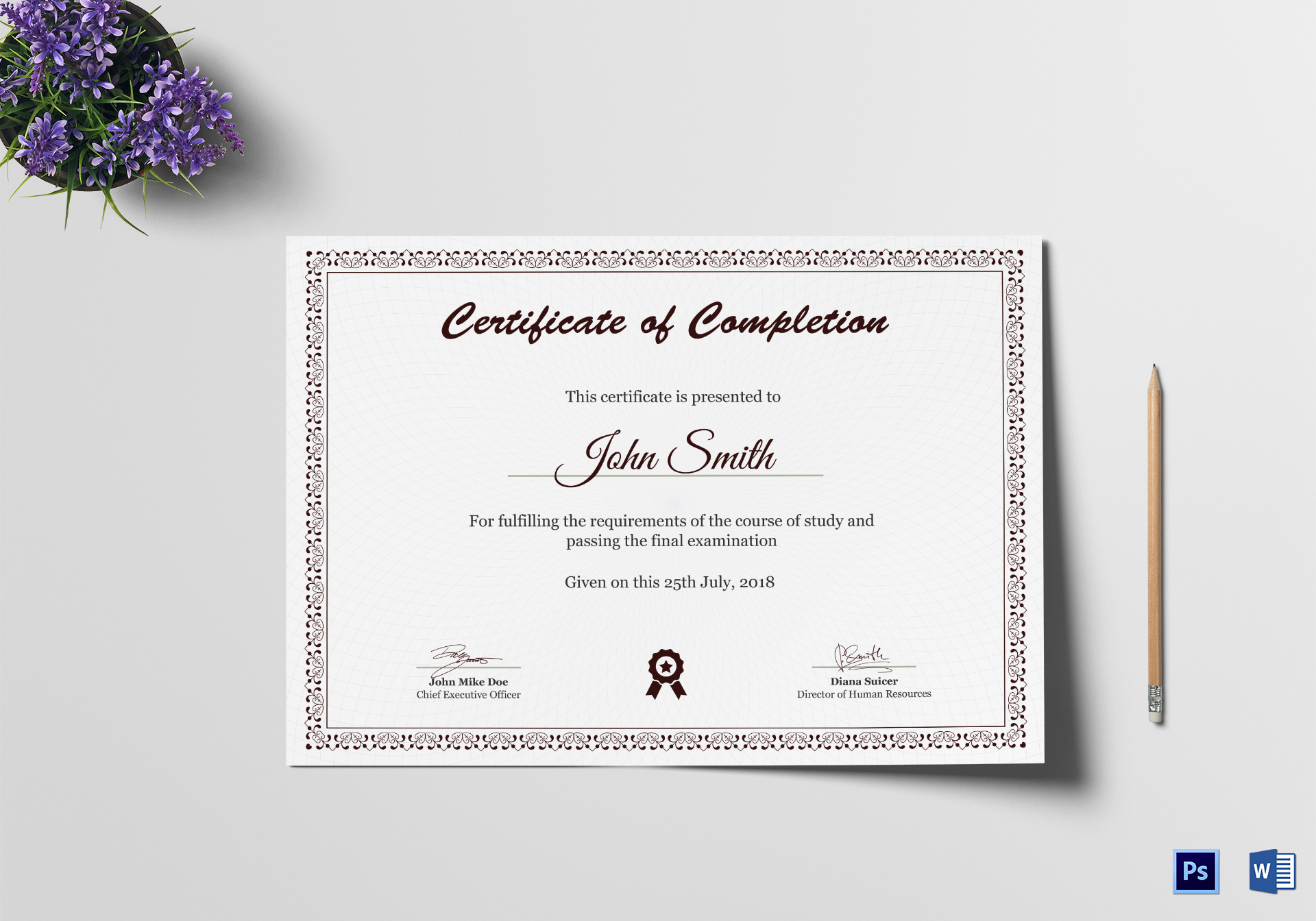 Graduation diploma completion certificate design template in psd word graduation diploma completion certificate xflitez Images