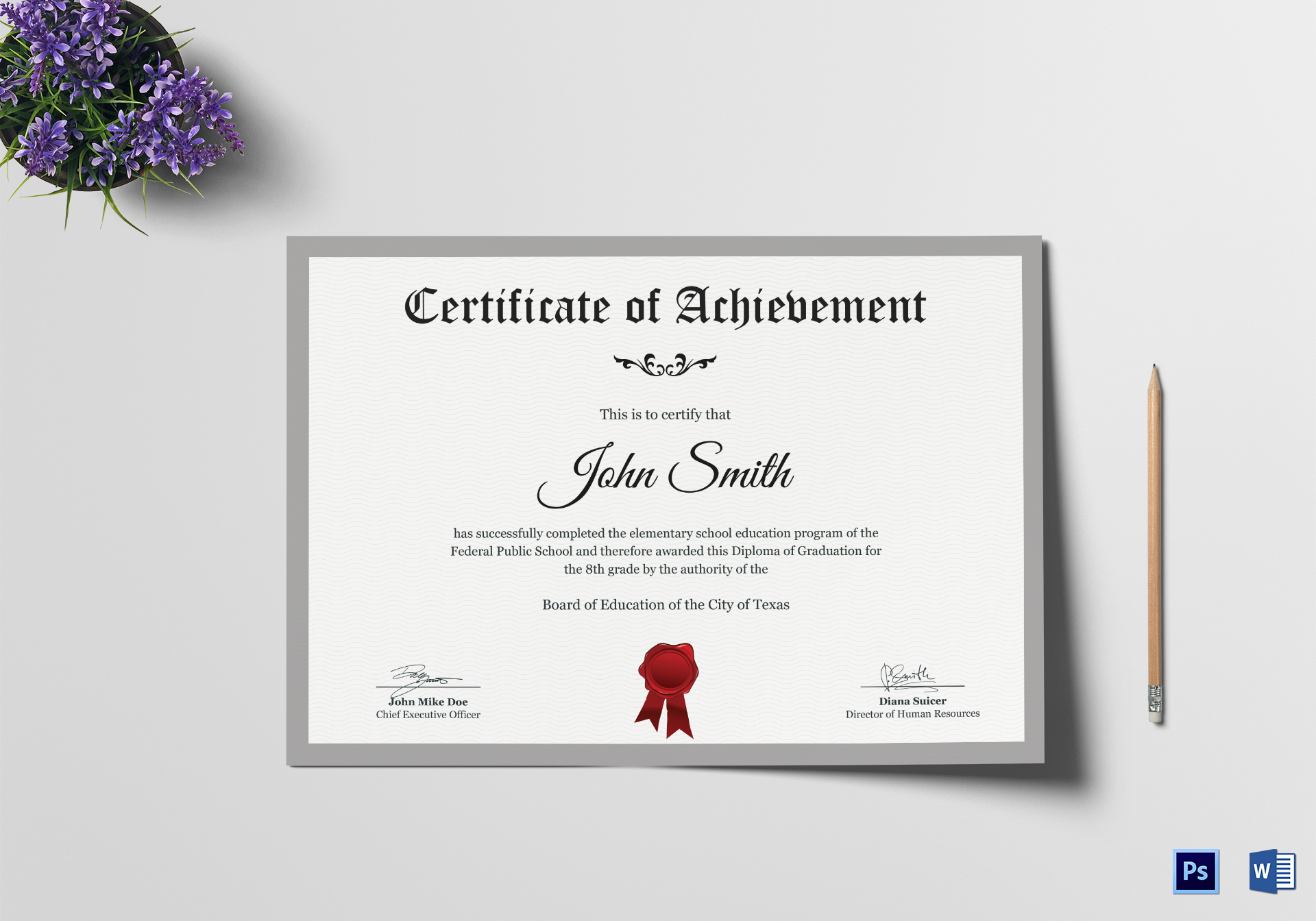 elementary school certificate design template in psd  word