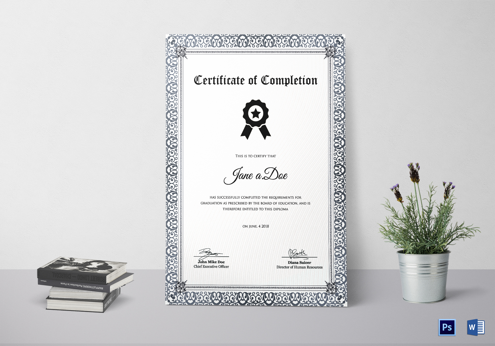 Diploma Education Completion Certificate Template