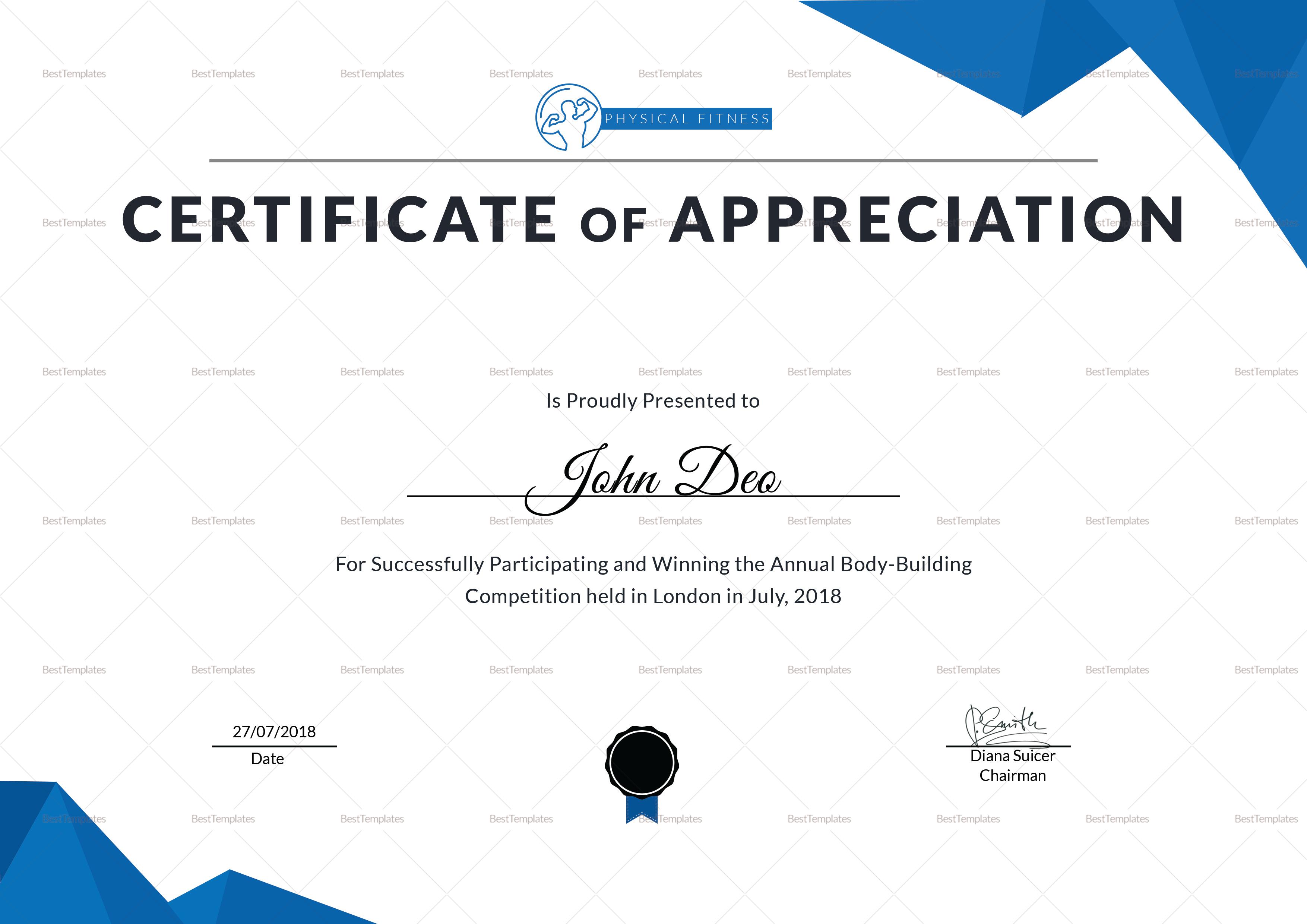Physical Fitness Appreciation Certificate Design Template