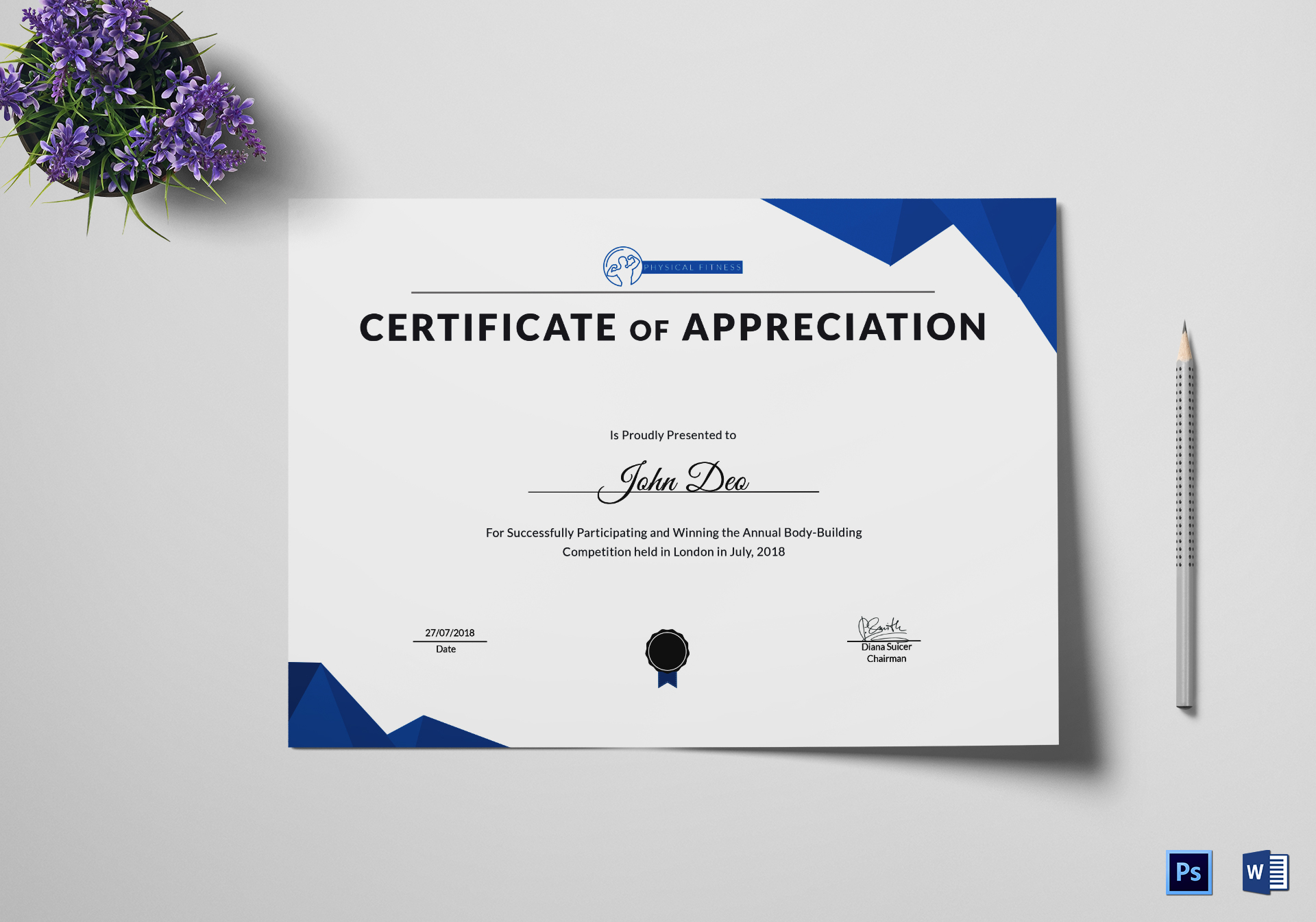 Physical Fitness Appreciation Certificate Design Template In Psd Word
