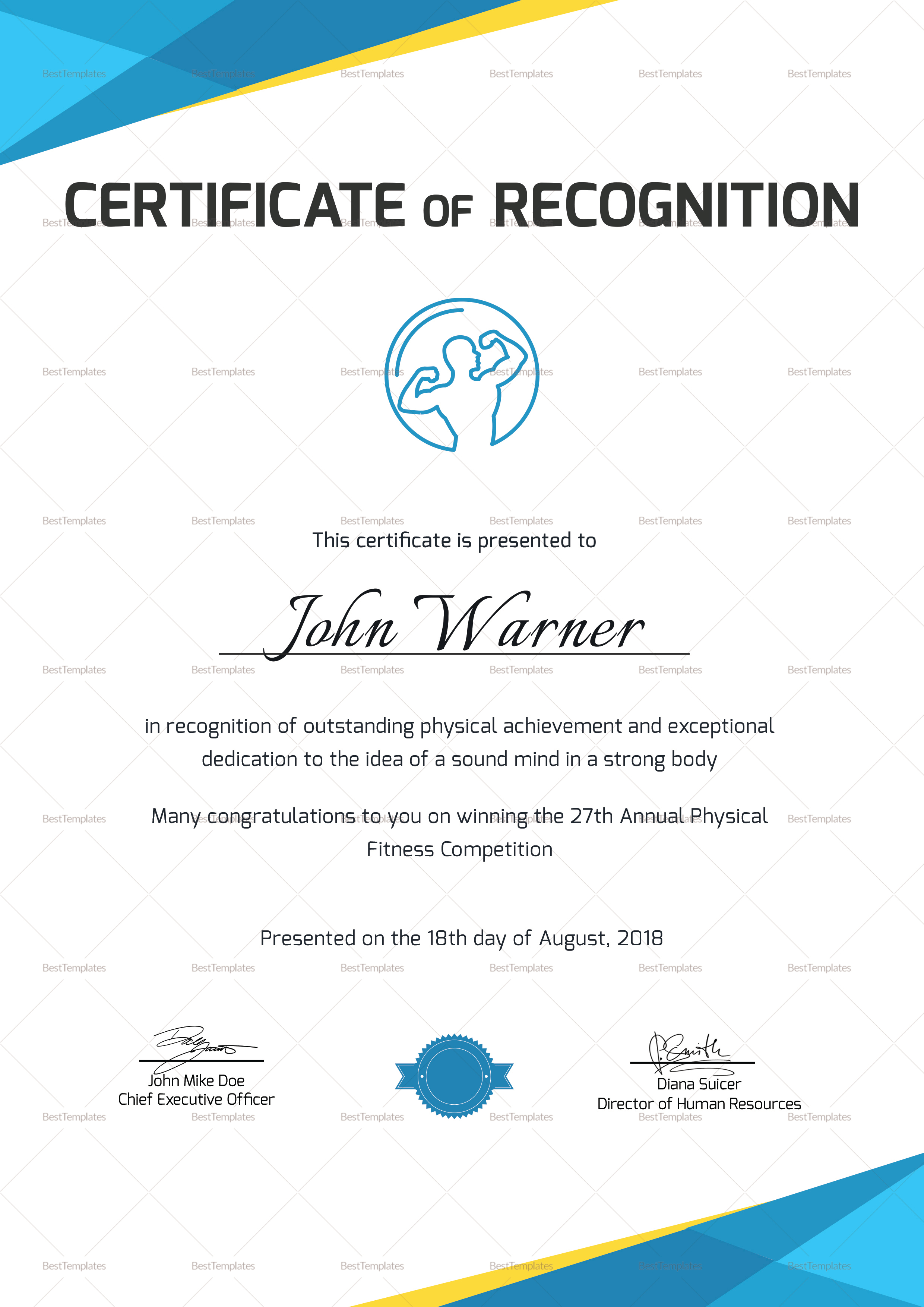 Physical Fitness Recognition Certificate Design Template