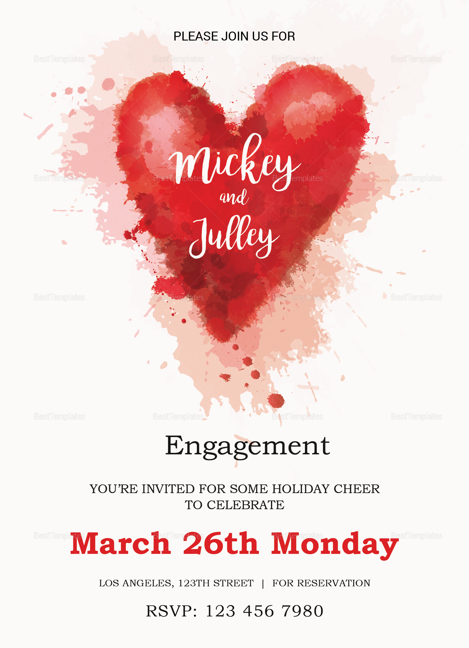 Colorful Engagement Invitation Card Design Template in Word, PSD ...