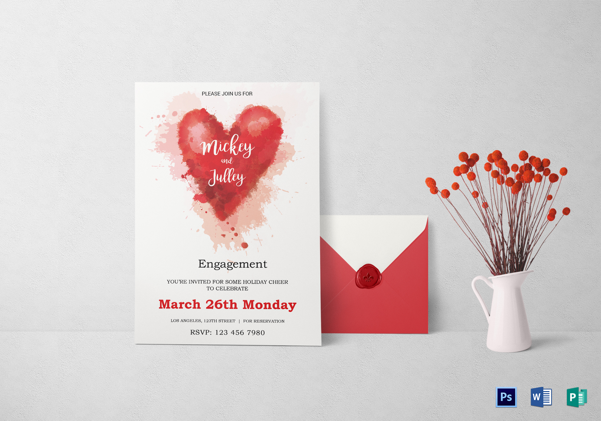 Colorful Engagement Invitation Card Design Template In Word Psd