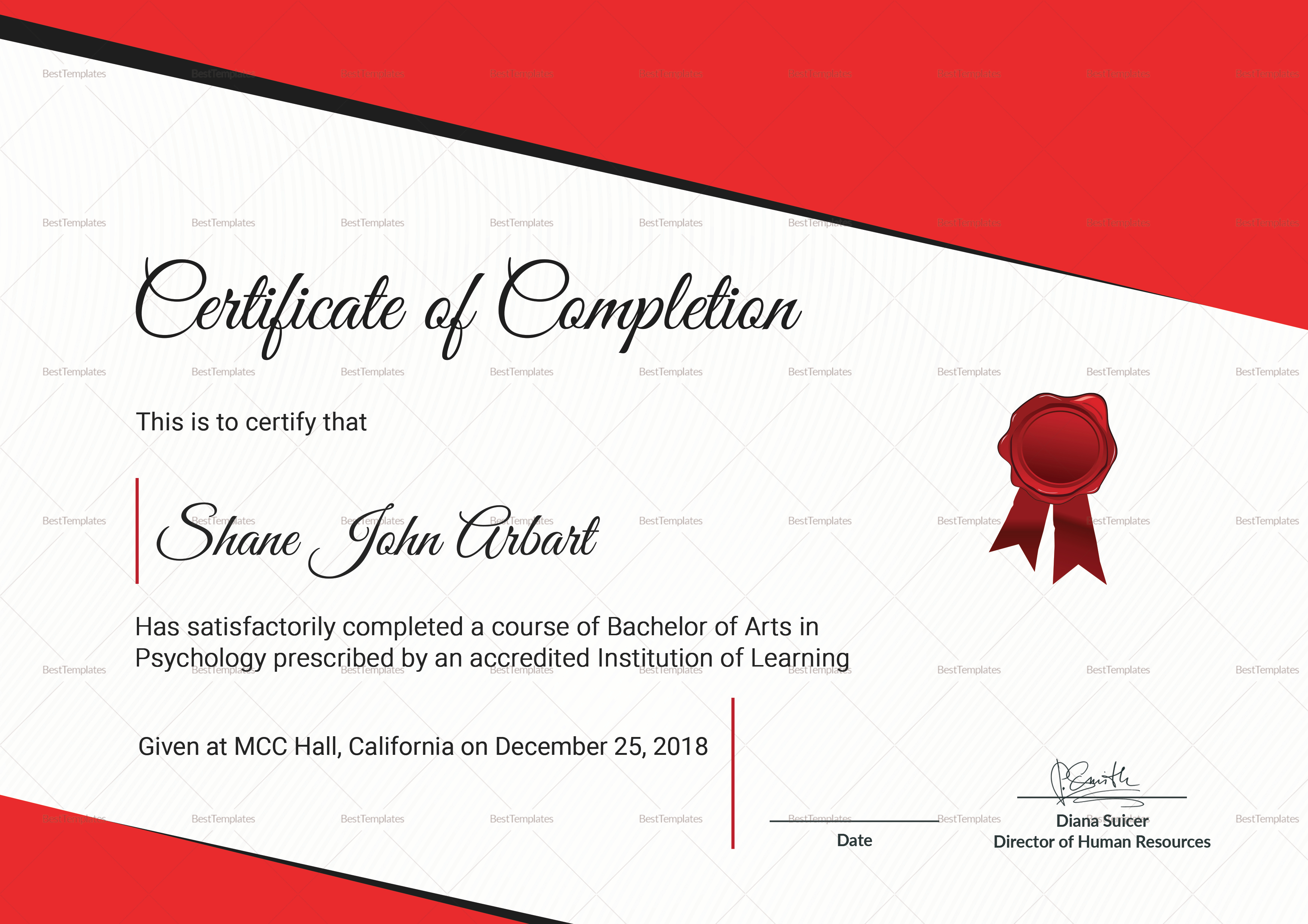 Bachelor of Arts Completion Certificate Template