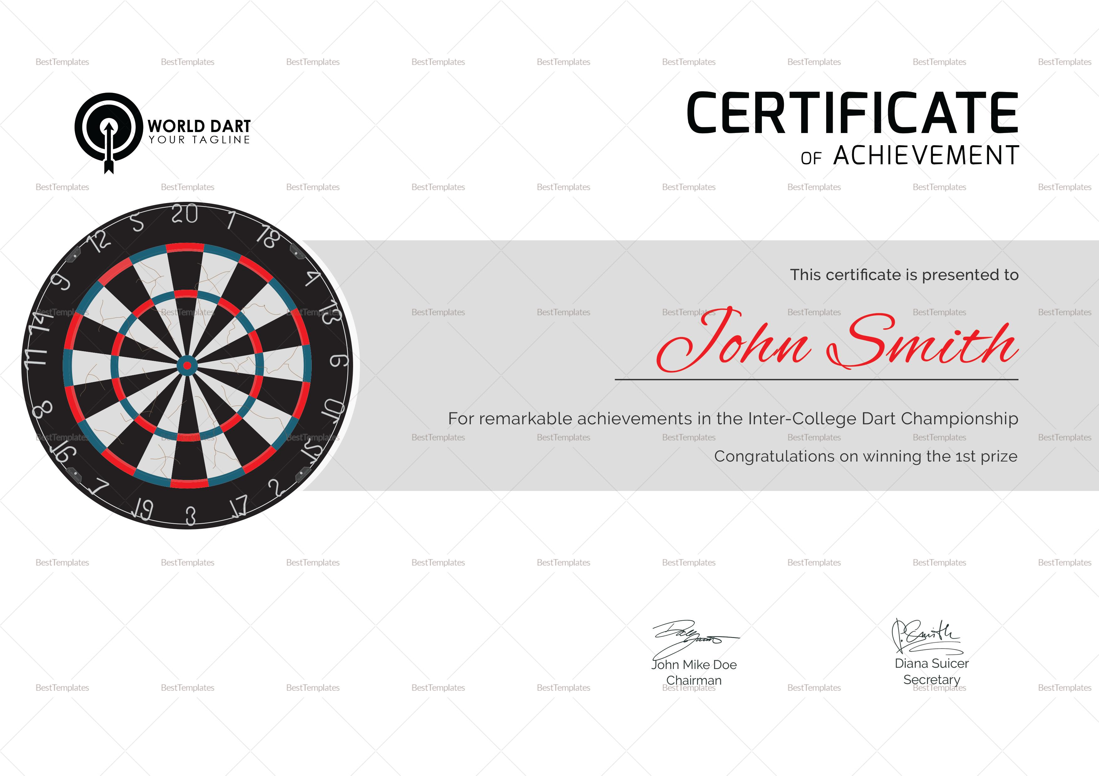 Certificate of Dart Achievement Template