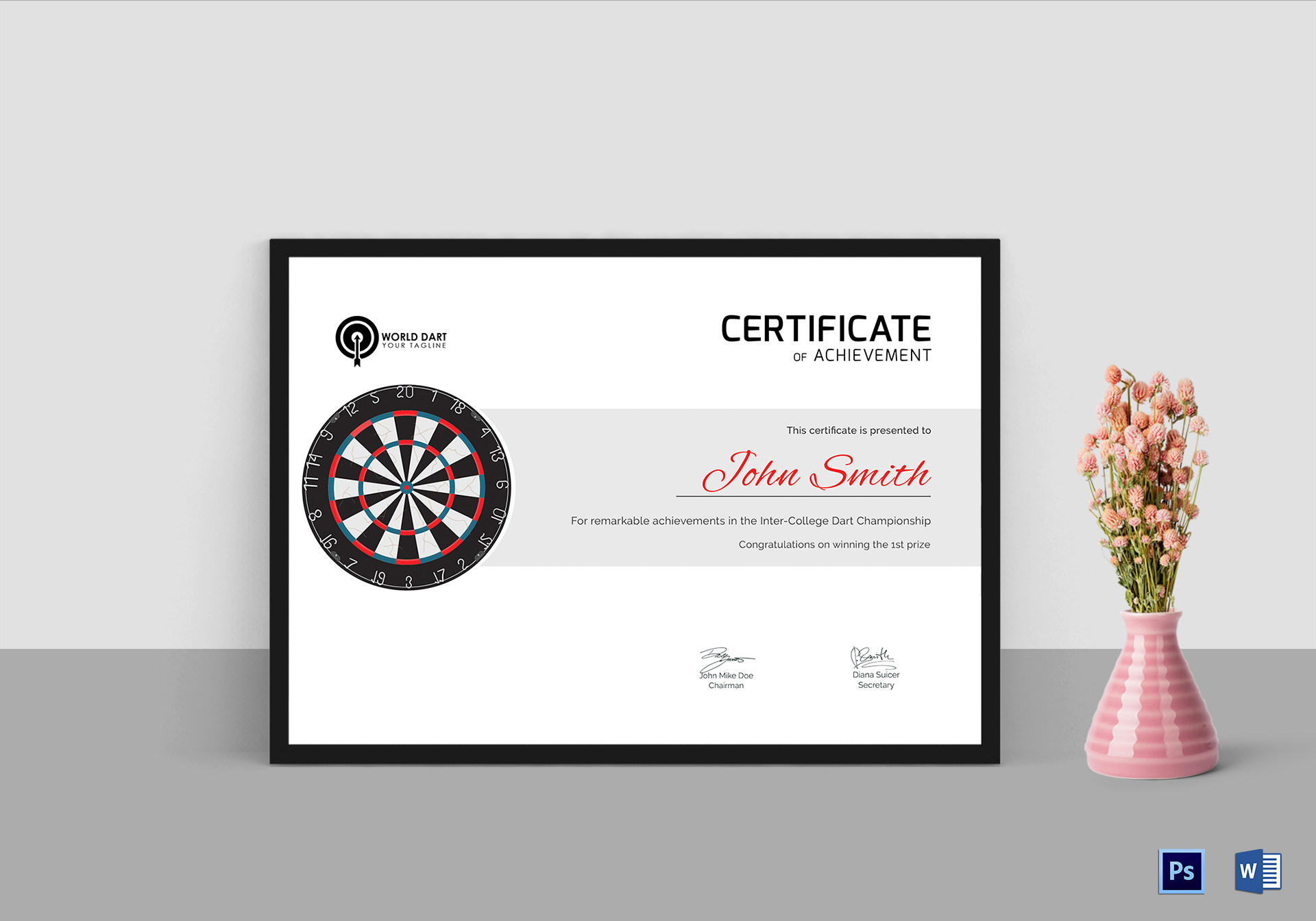 certificate of dart participation design template in psd  word