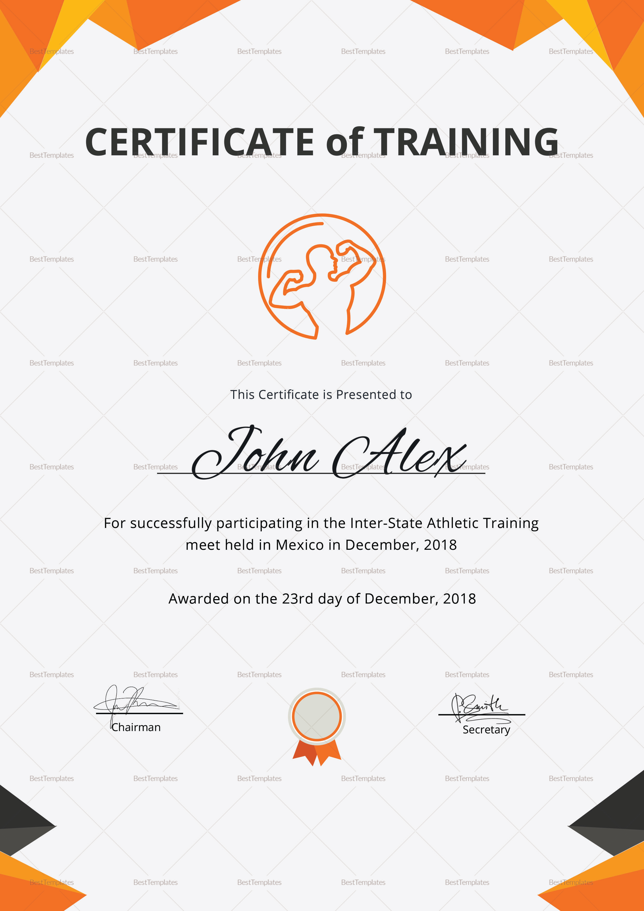Physical Fitness Training Certificate Design Template in PSD, Word for Physical Fitness Design  150ifm