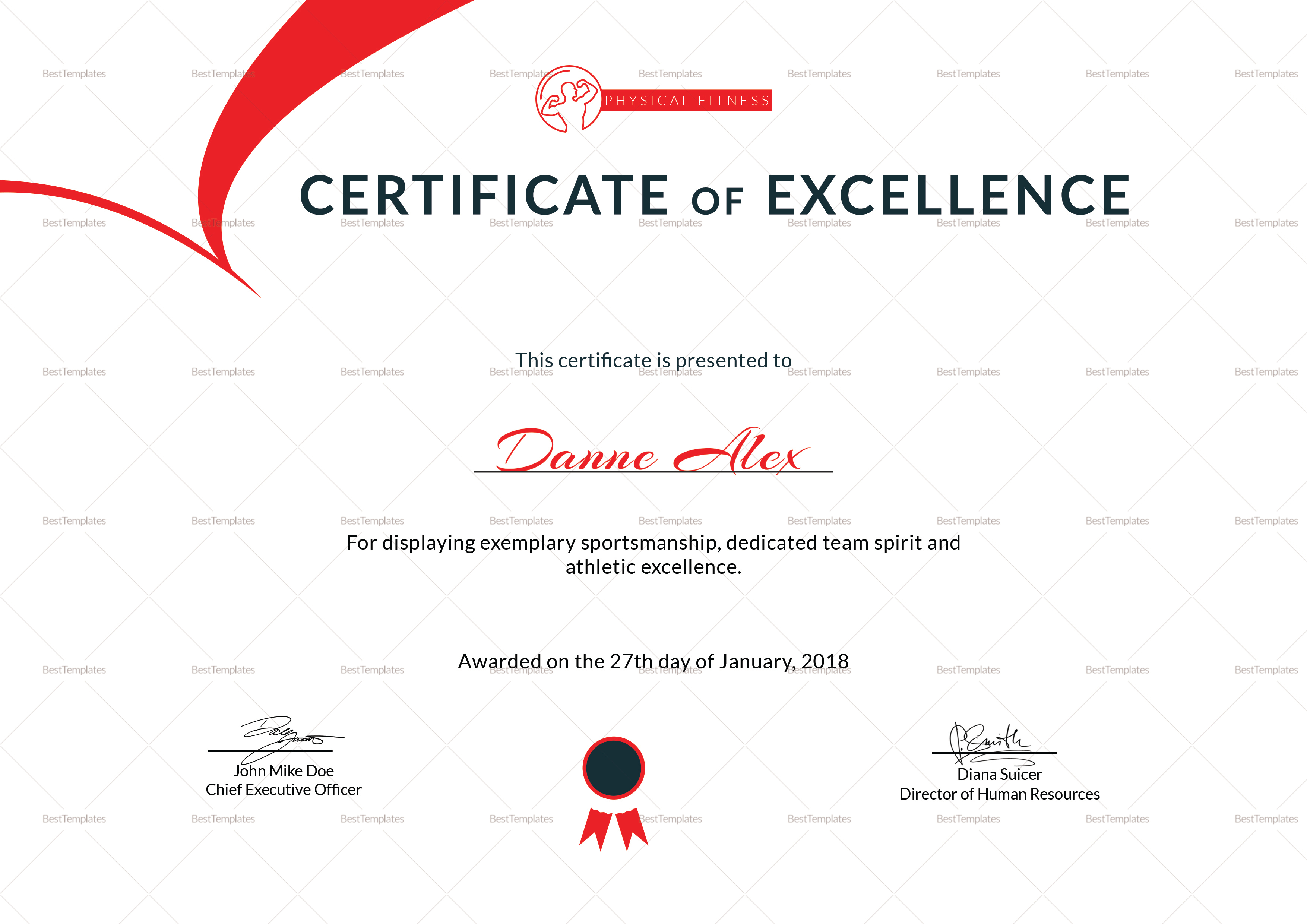 Physical Fitness Excellence Certificate Design Template in PSD, Word for Physical Fitness Design  557yll