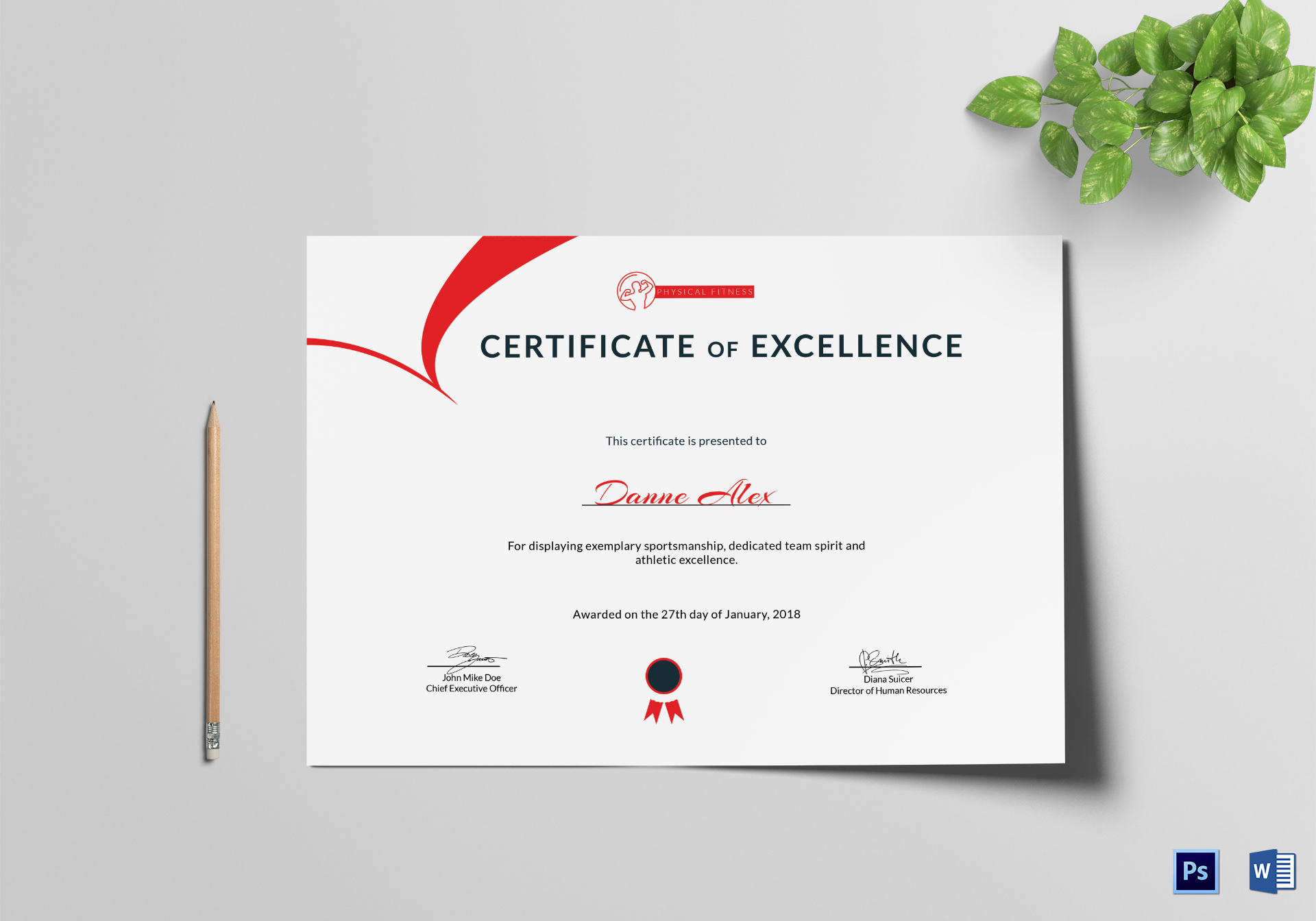 Physical Fitness Excellence Certificate Template