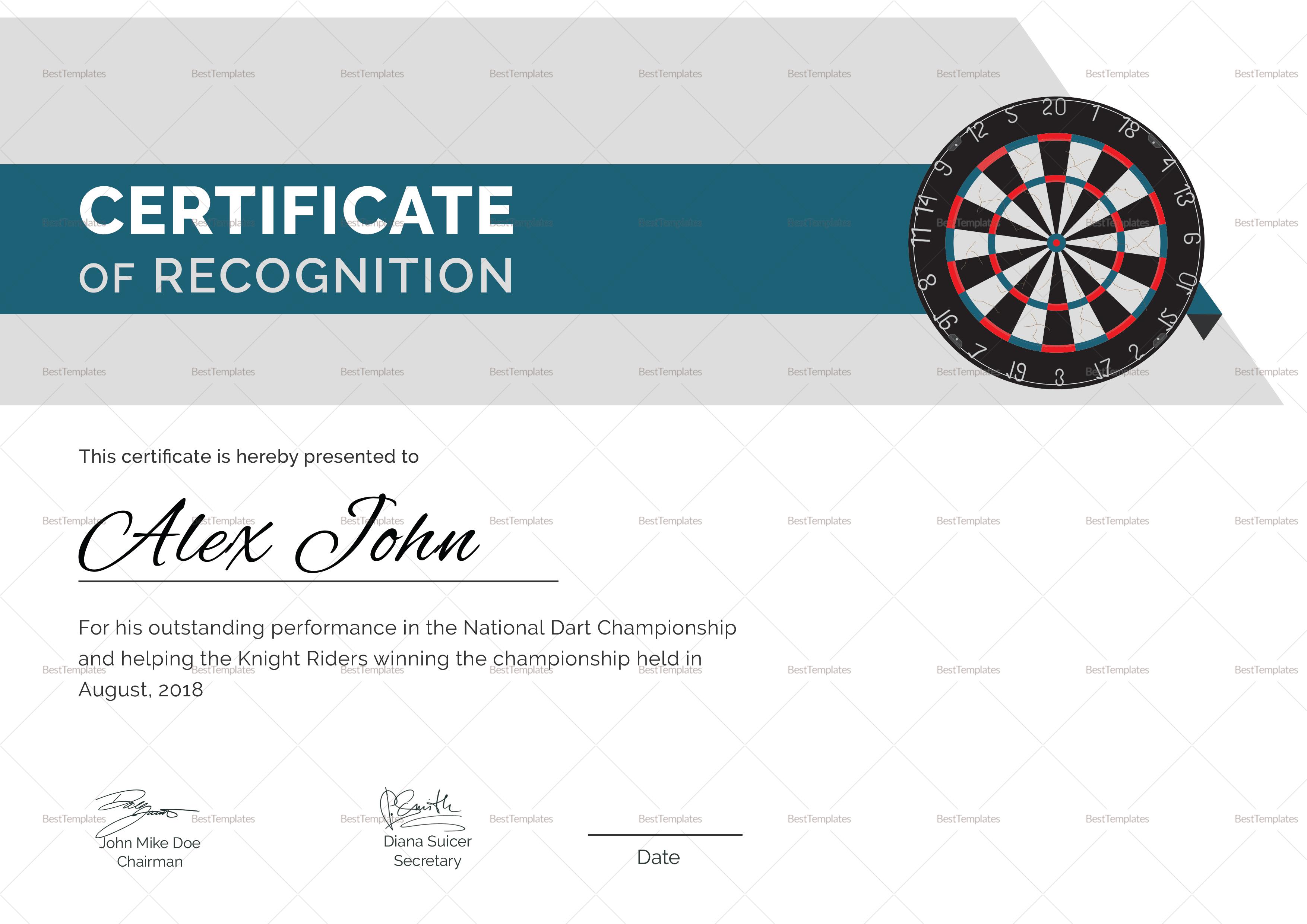 Certificate of Darts Award Template
