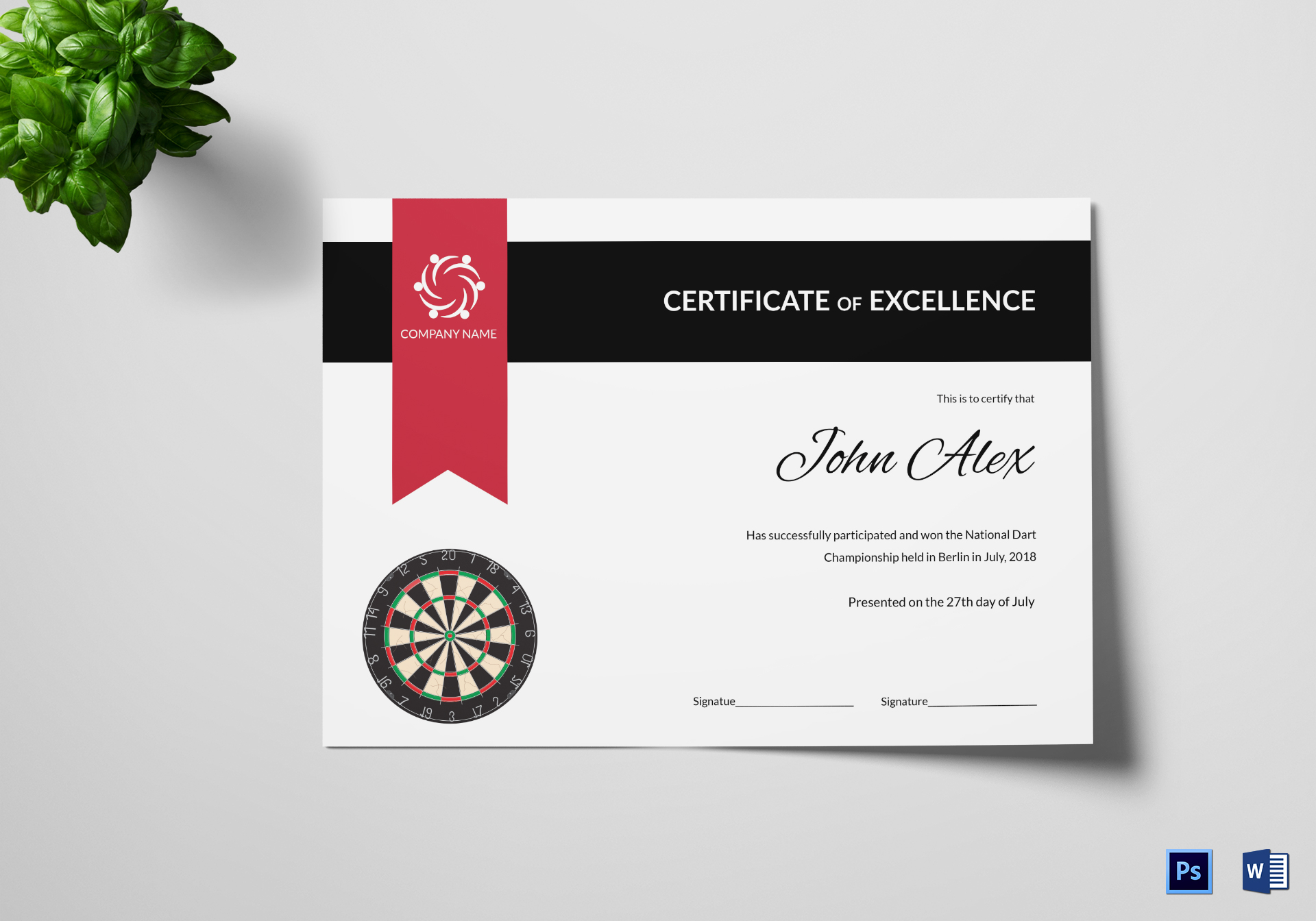 certificate of darts champion design template in psd  word