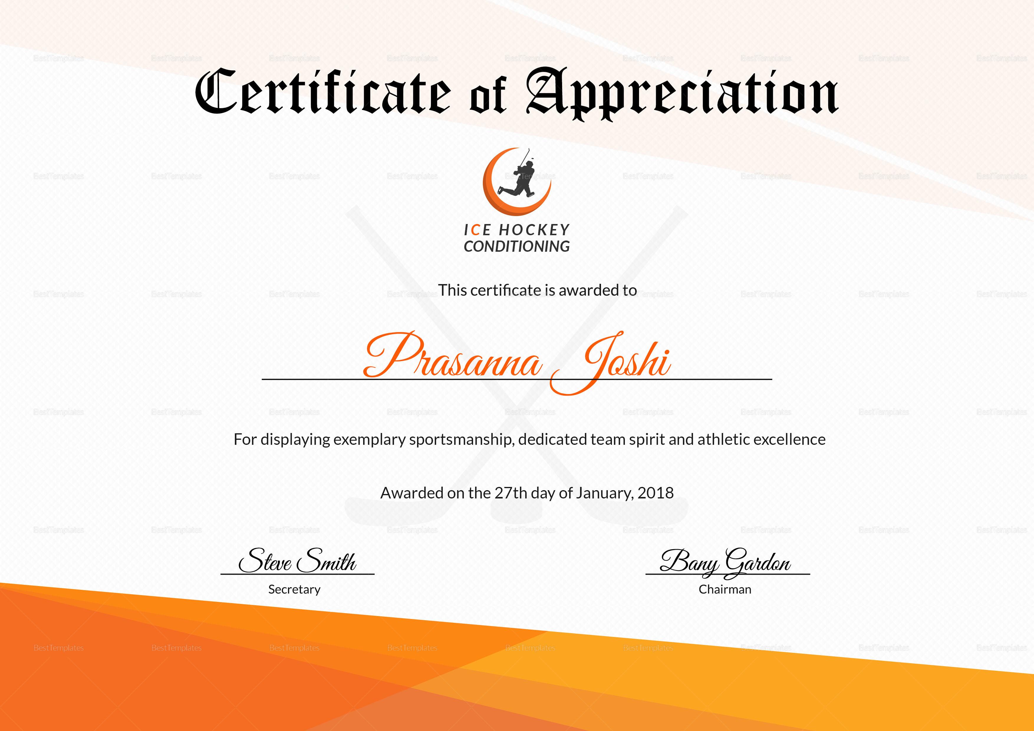hockey certificate template word psd