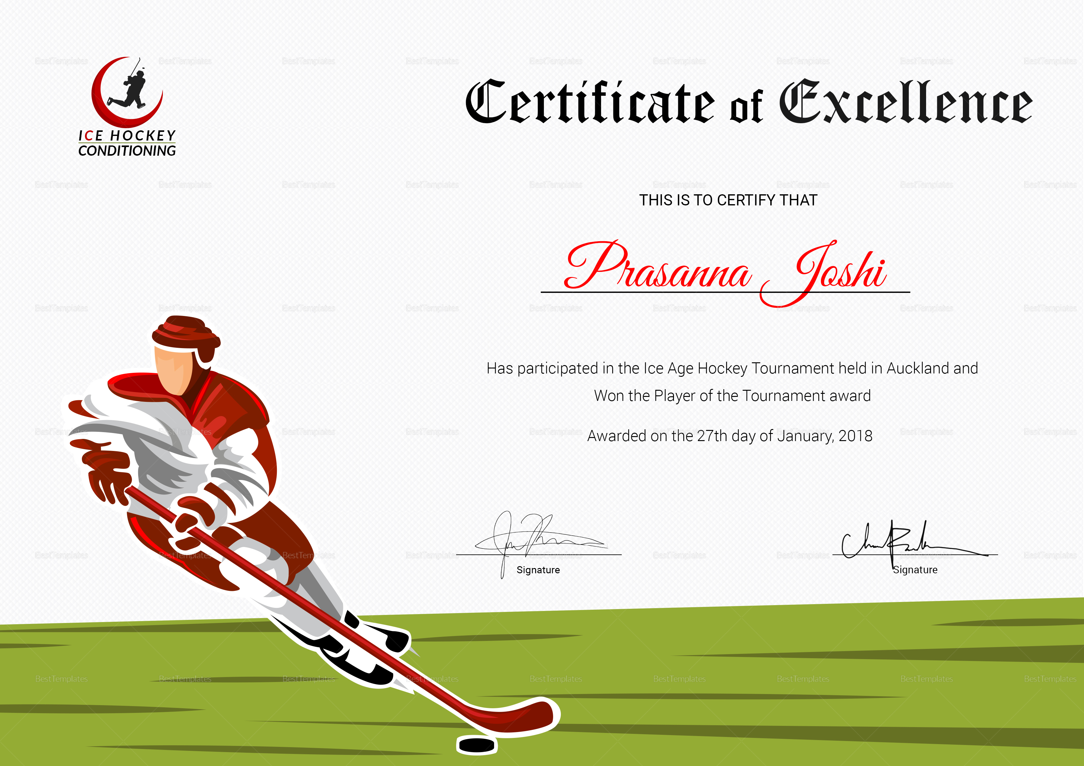 Certificate of Hockey Performance Template