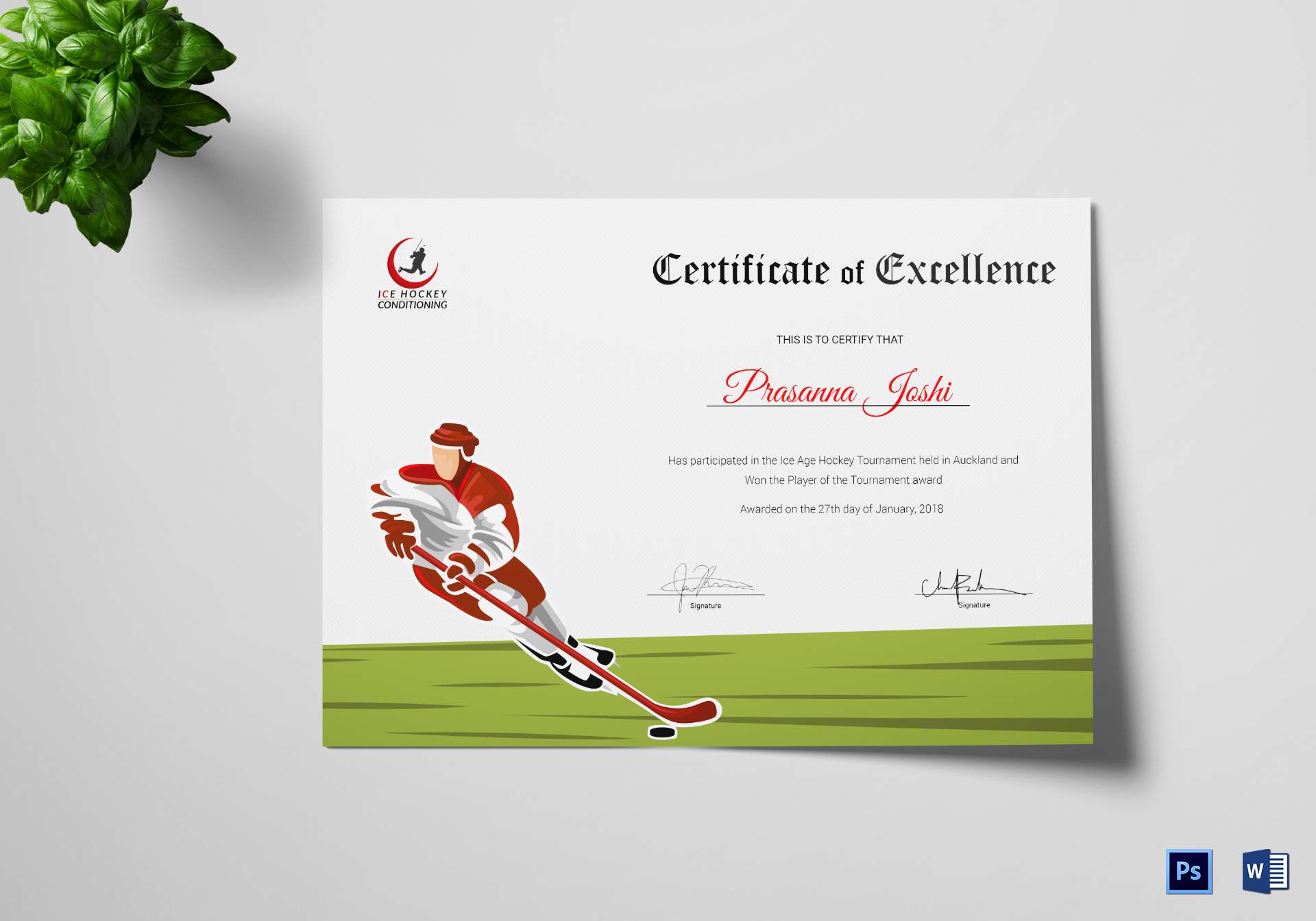 Certificate of Hockey Performance
