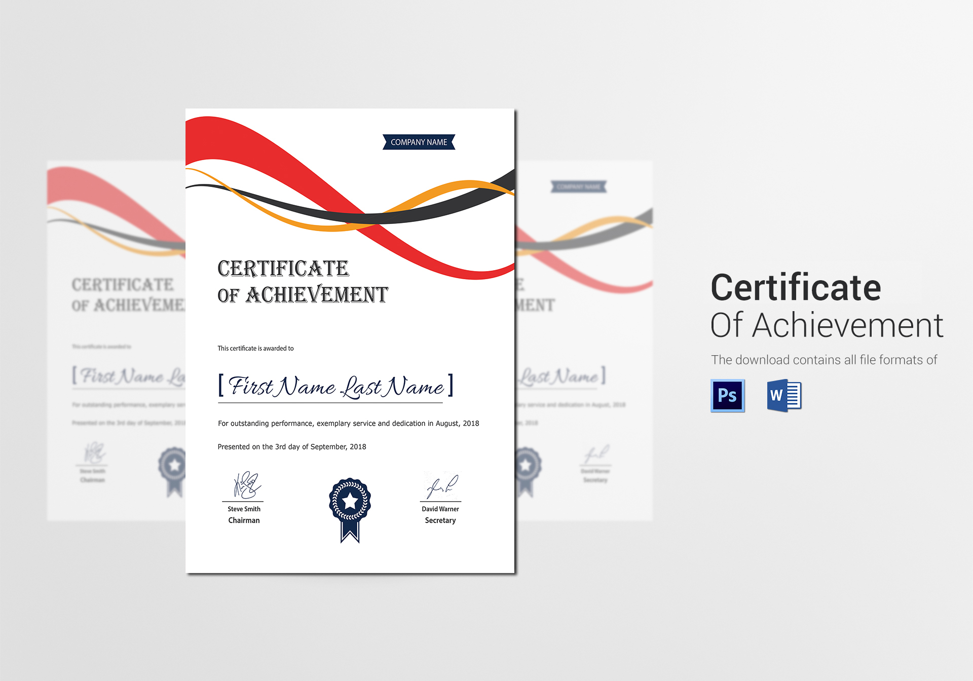 Achievement corporate certificate design template in psd word achievement corporate certificate template 1betcityfo Images