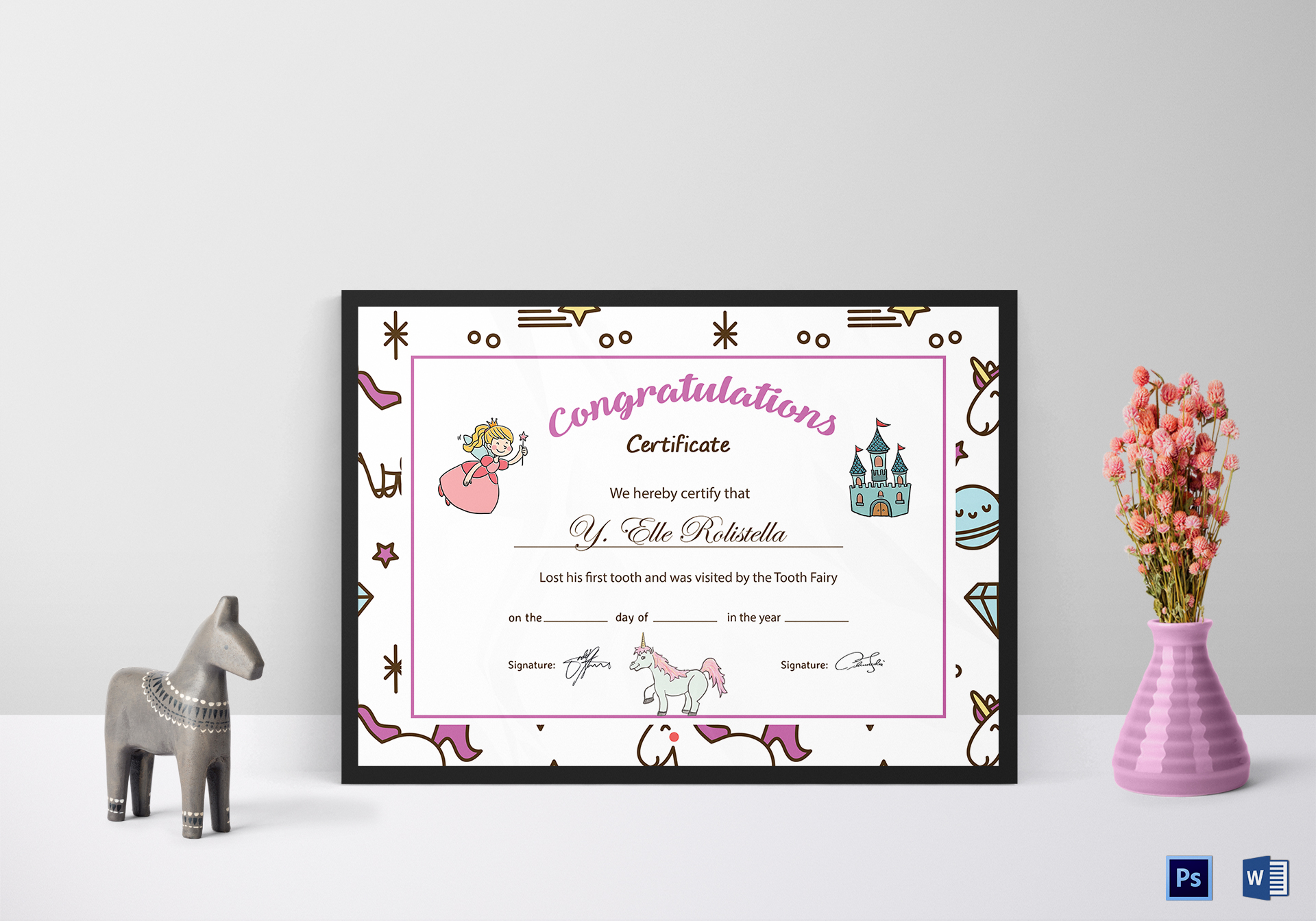 Tooth Fairy Congratulation Certificate Template