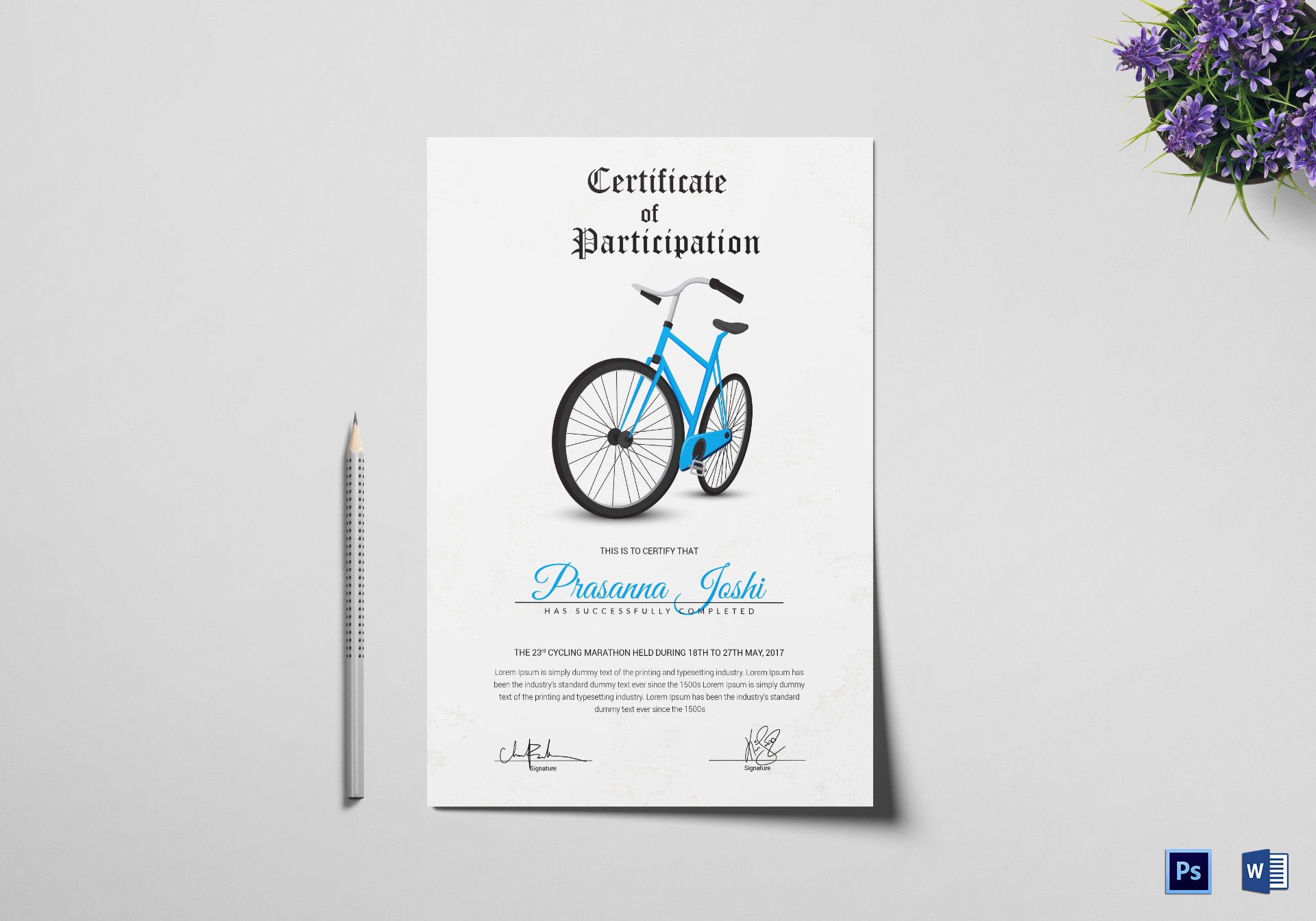 Sample Cycling Participation Certificate Template