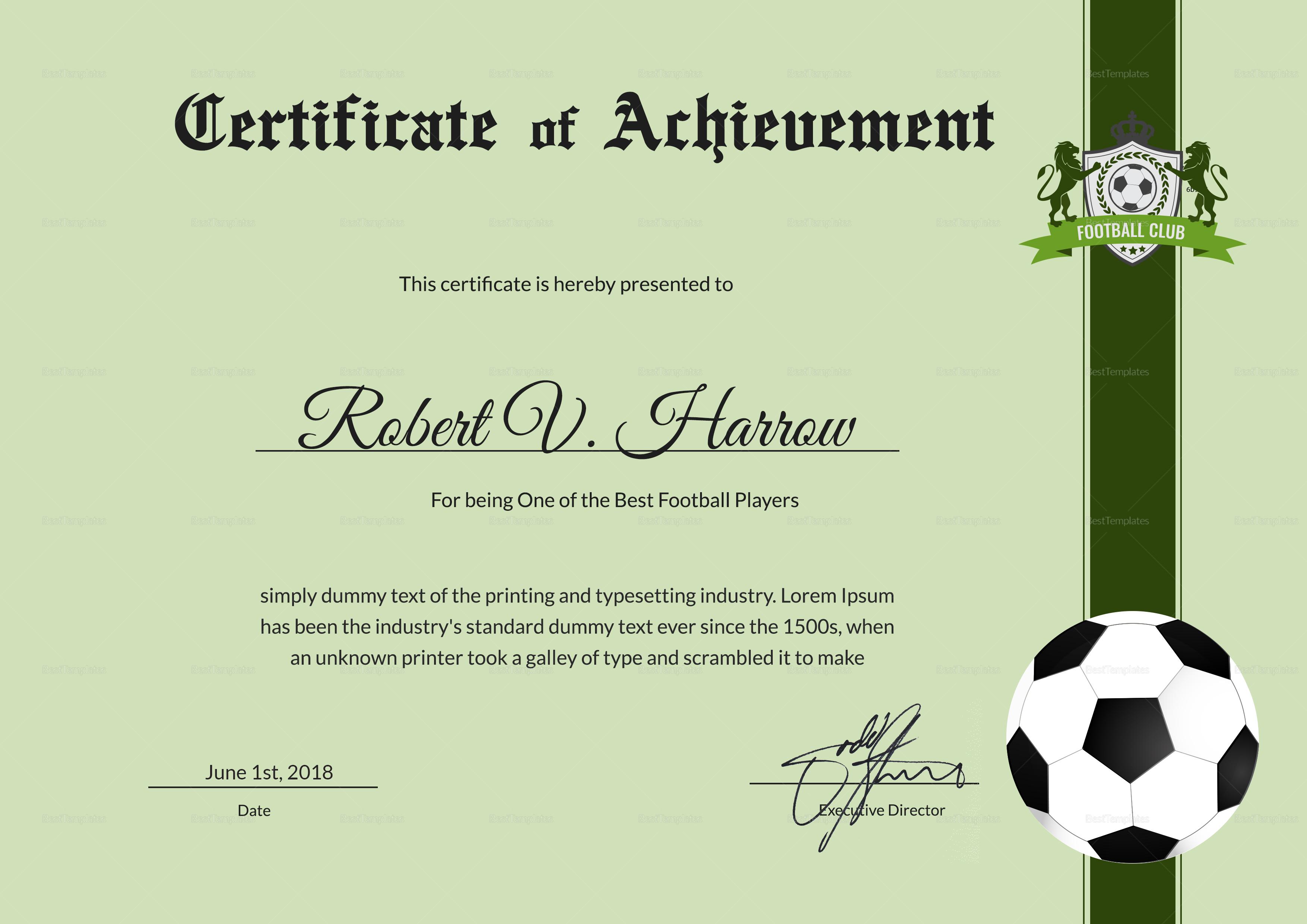 football achievement award design template in psd  word